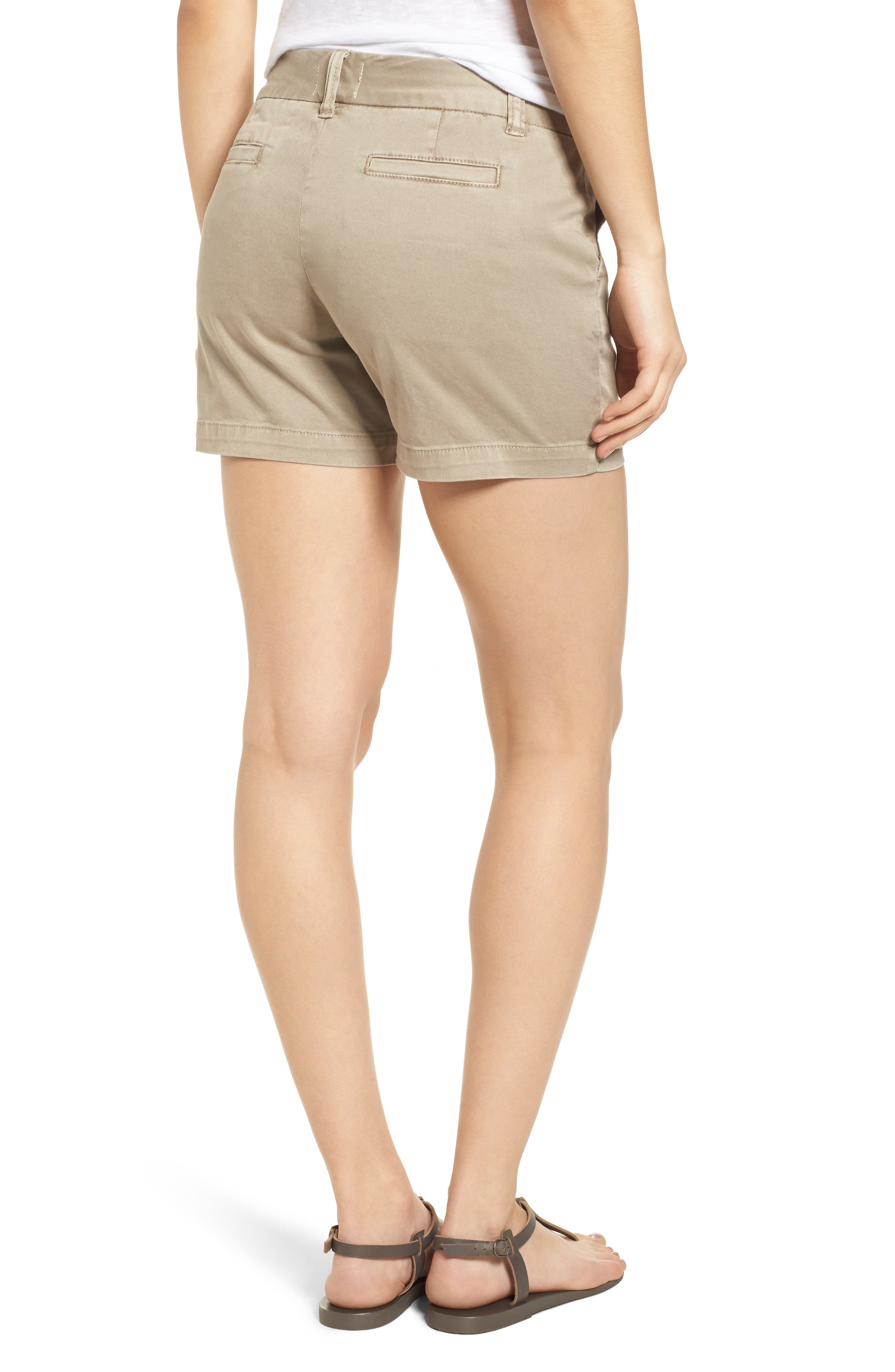 CASLON<SUP>®</SUP>, Cotton Twill Shorts, Alternate thumbnail 2, color, TAN COBBLESTONE