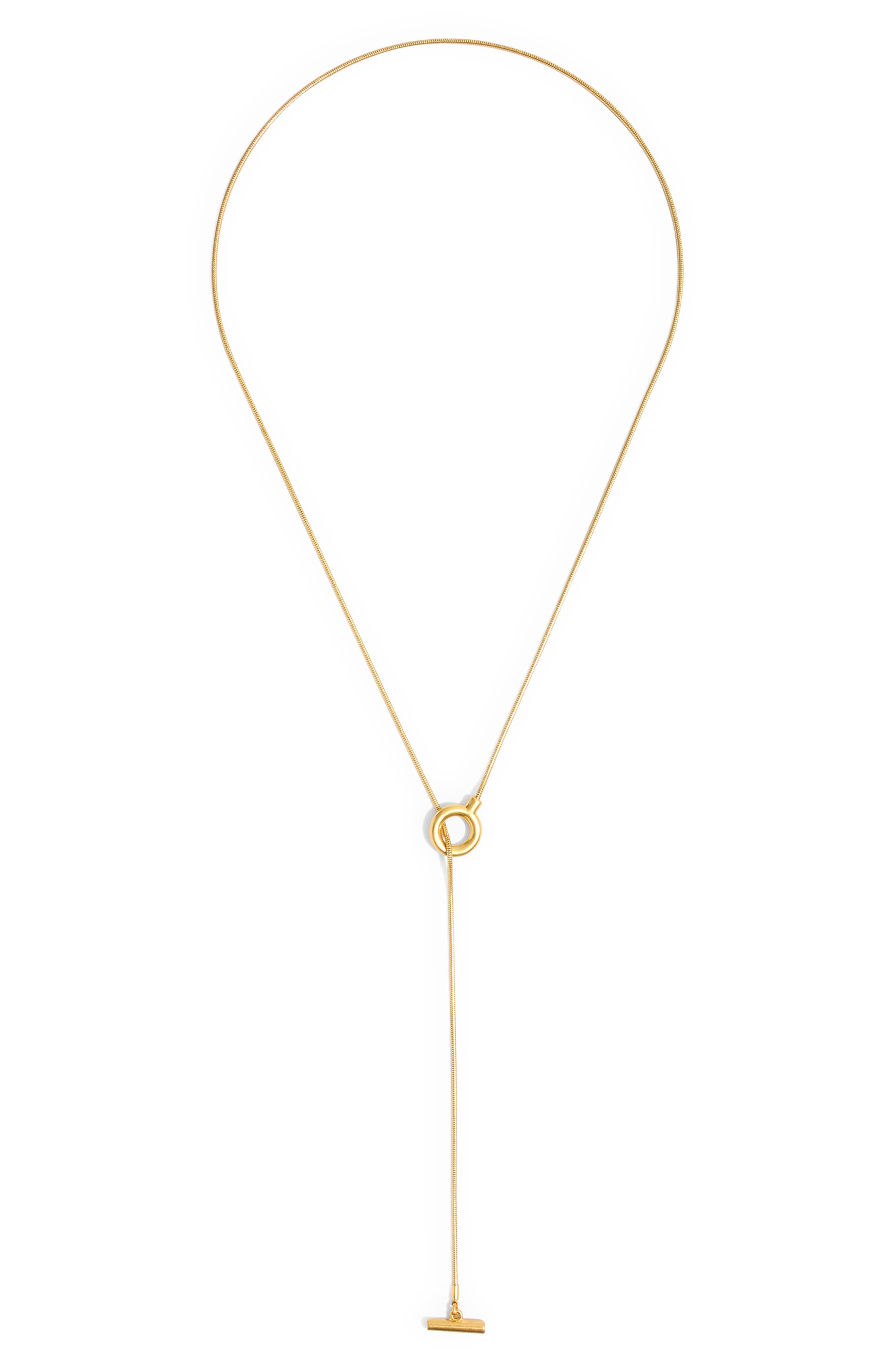 MADEWELL, Toggle Lariat Necklace, Alternate thumbnail 4, color, VINTAGE GOLD