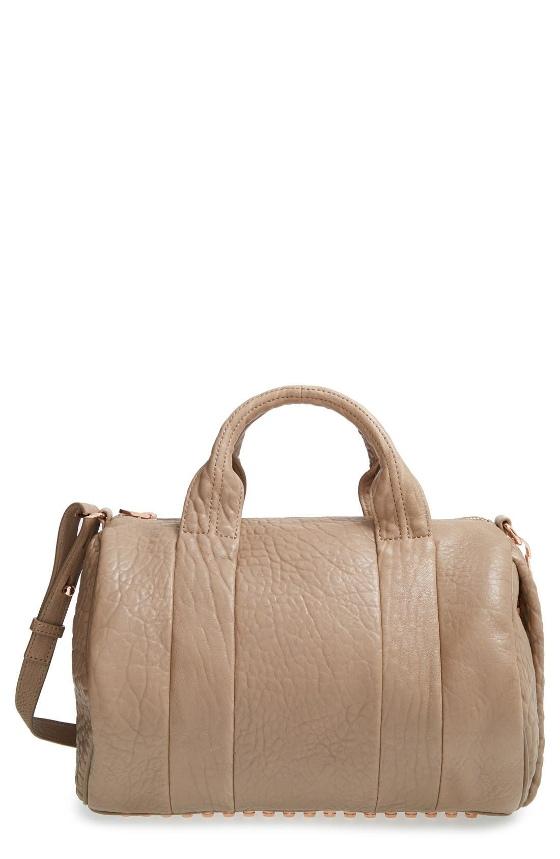 ALEXANDER WANG, 'Rocco - Rose Gold' Leather Satchel, Main thumbnail 1, color, 250