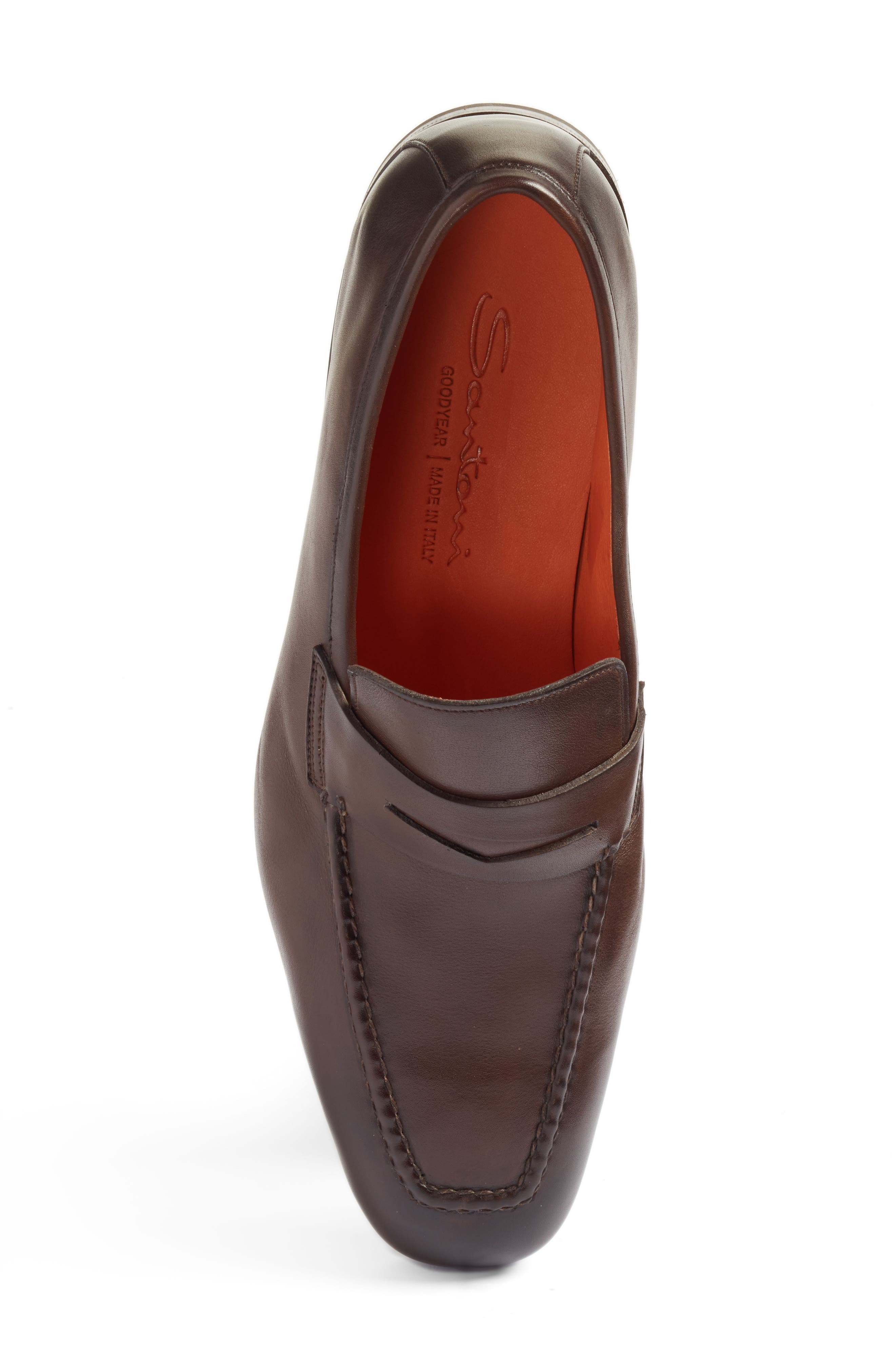SANTONI, Fox Packable Penny Loafer, Alternate thumbnail 5, color, DARK BROWN LEATHER