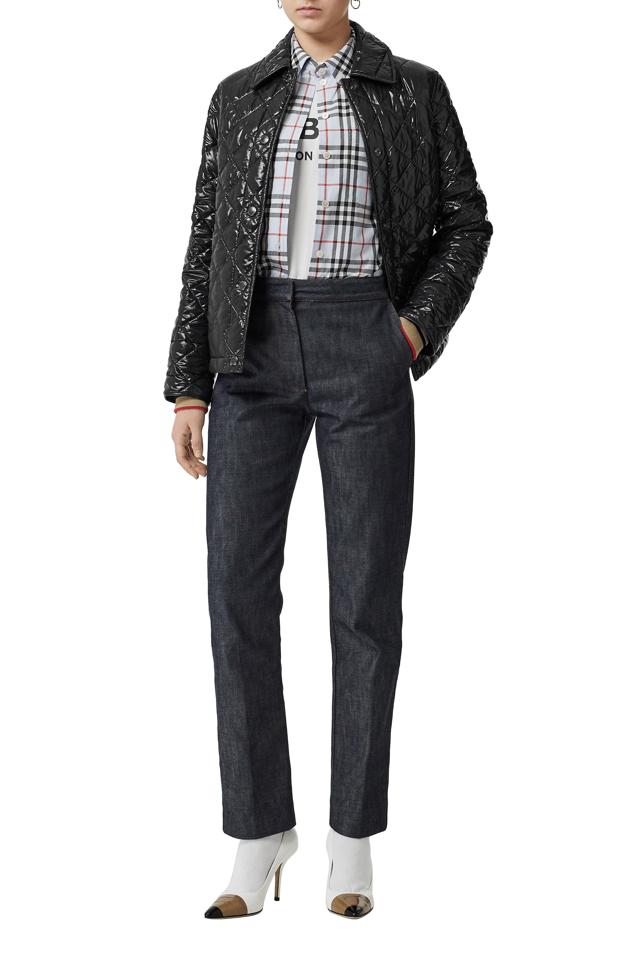 BURBERRY, Heathfield Frinton Knit Cuff Quilted Jacket, Alternate thumbnail 7, color, BLACK