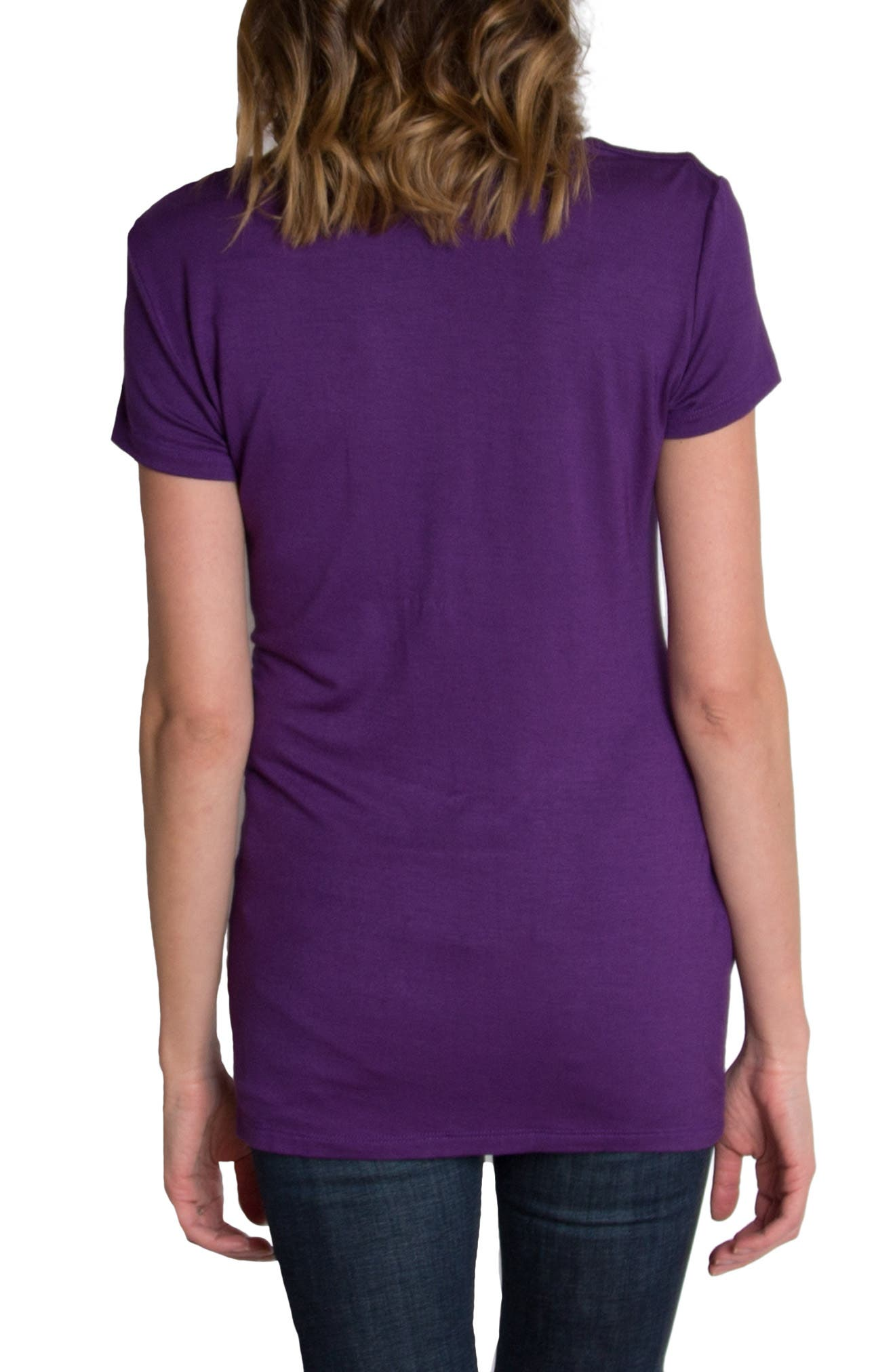 UDDERLY HOT MAMA, 'Chic' Cowl Neck Nursing Tee, Alternate thumbnail 8, color, PURPLE
