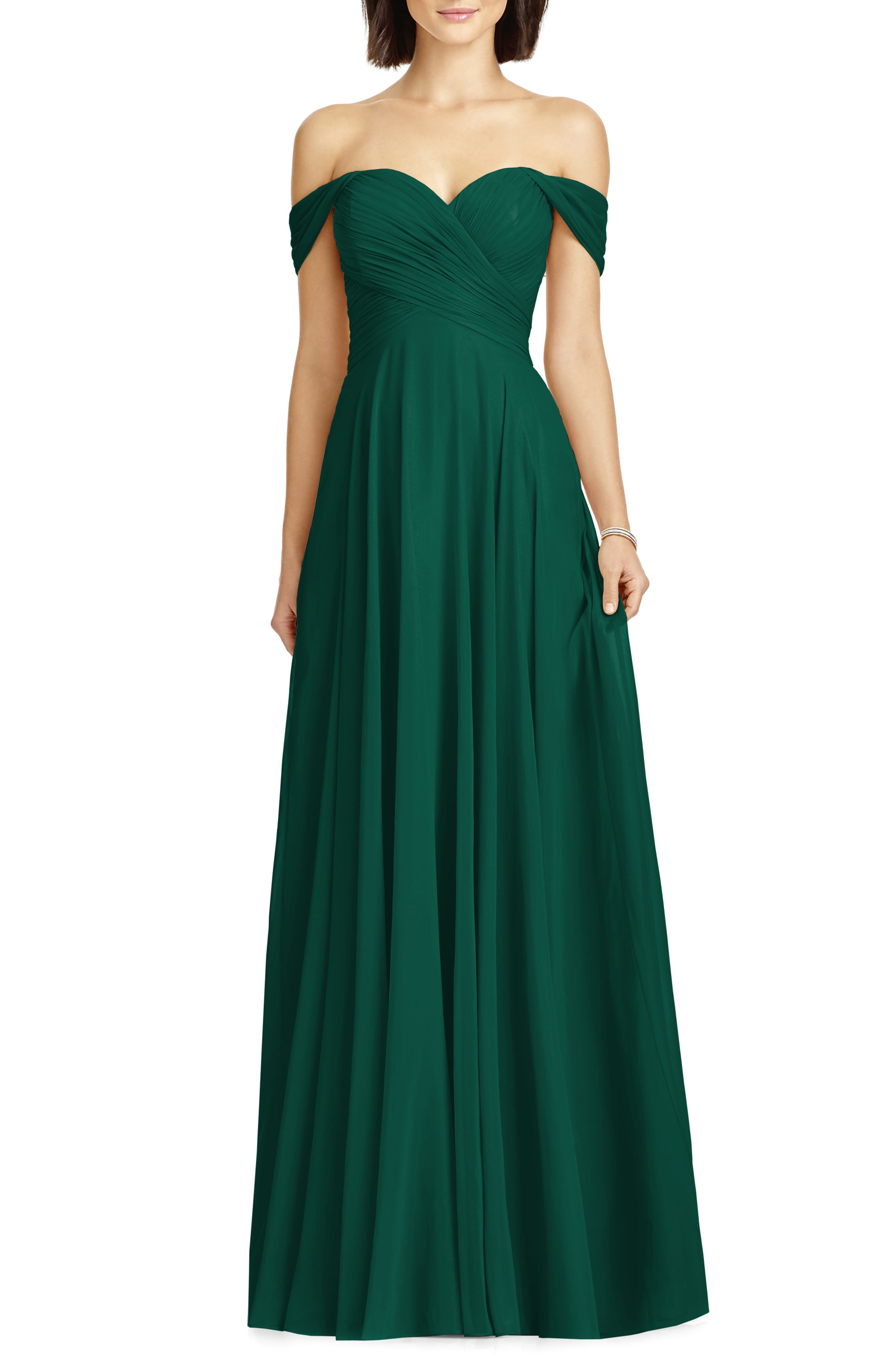 DESSY COLLECTION, Lux Ruched Off the Shoulder Chiffon Gown, Main thumbnail 1, color, HUNTER