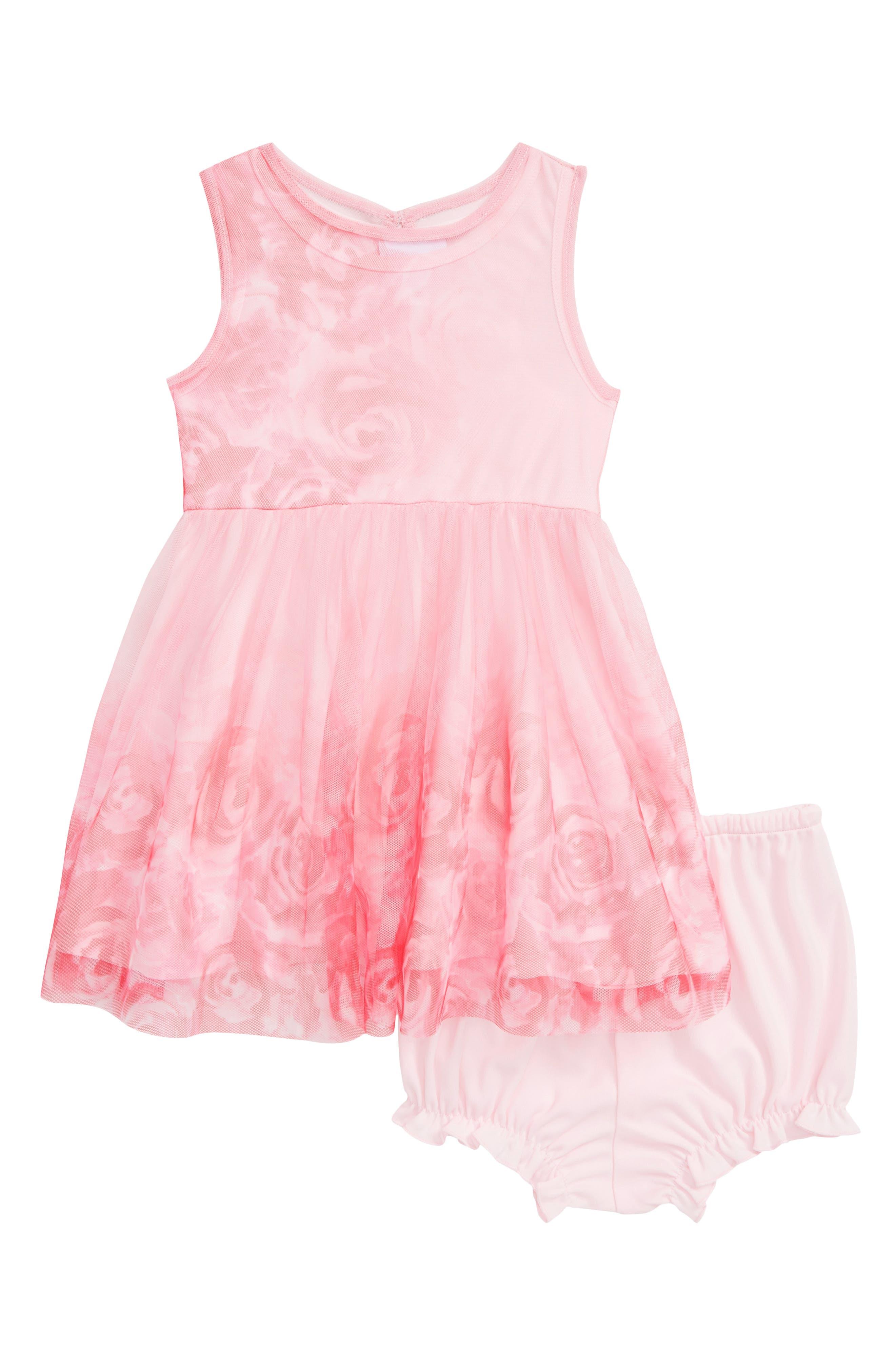FRAIS Ombré Floral Print Mesh Dress, Main, color, FUCHSIA