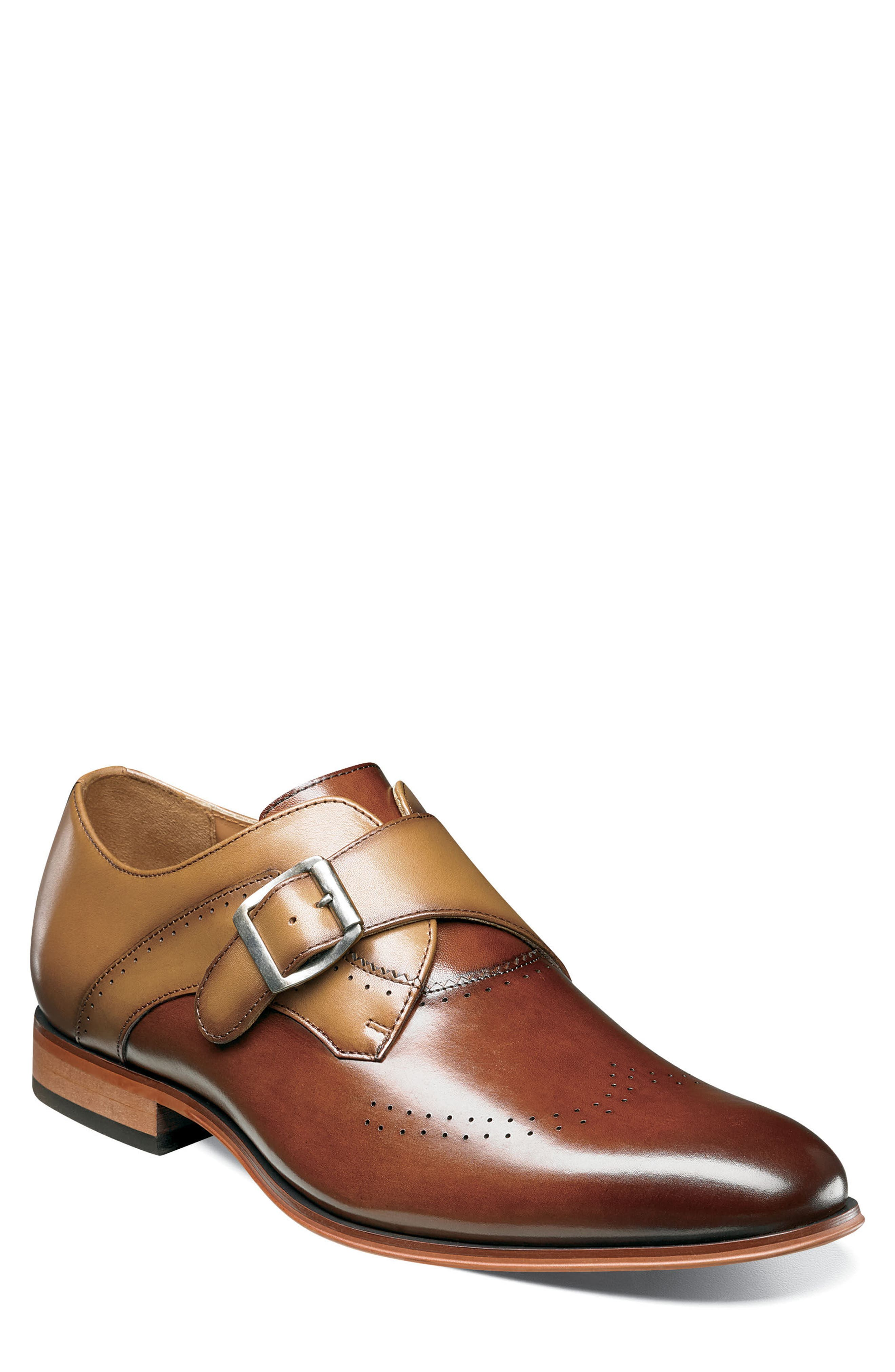 STACY ADAMS, Saxton Perforated Monk Strap Shoe, Main thumbnail 1, color, 201