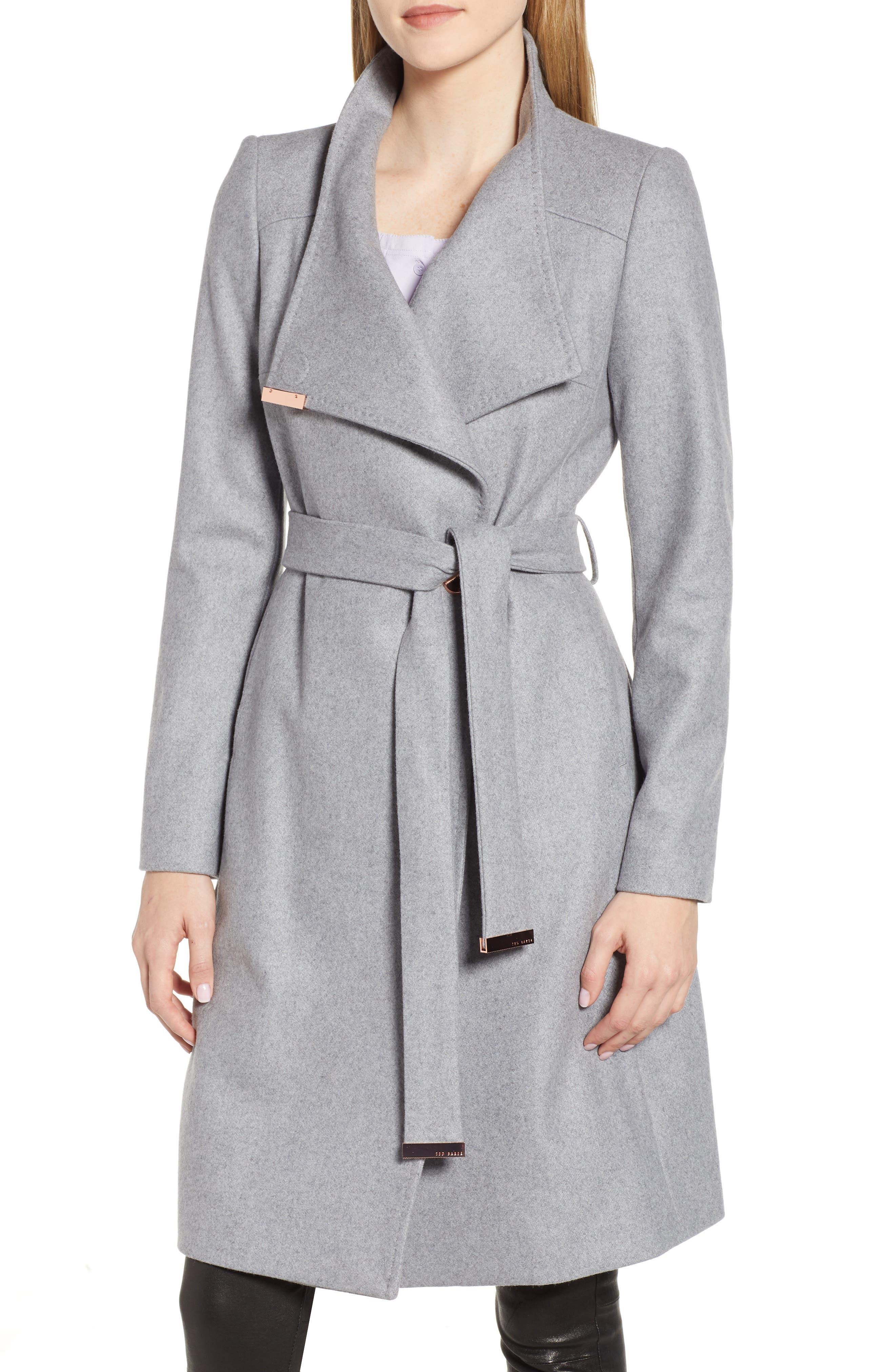 TED BAKER LONDON, Wool Blend Long Wrap Coat, Main thumbnail 1, color, 030