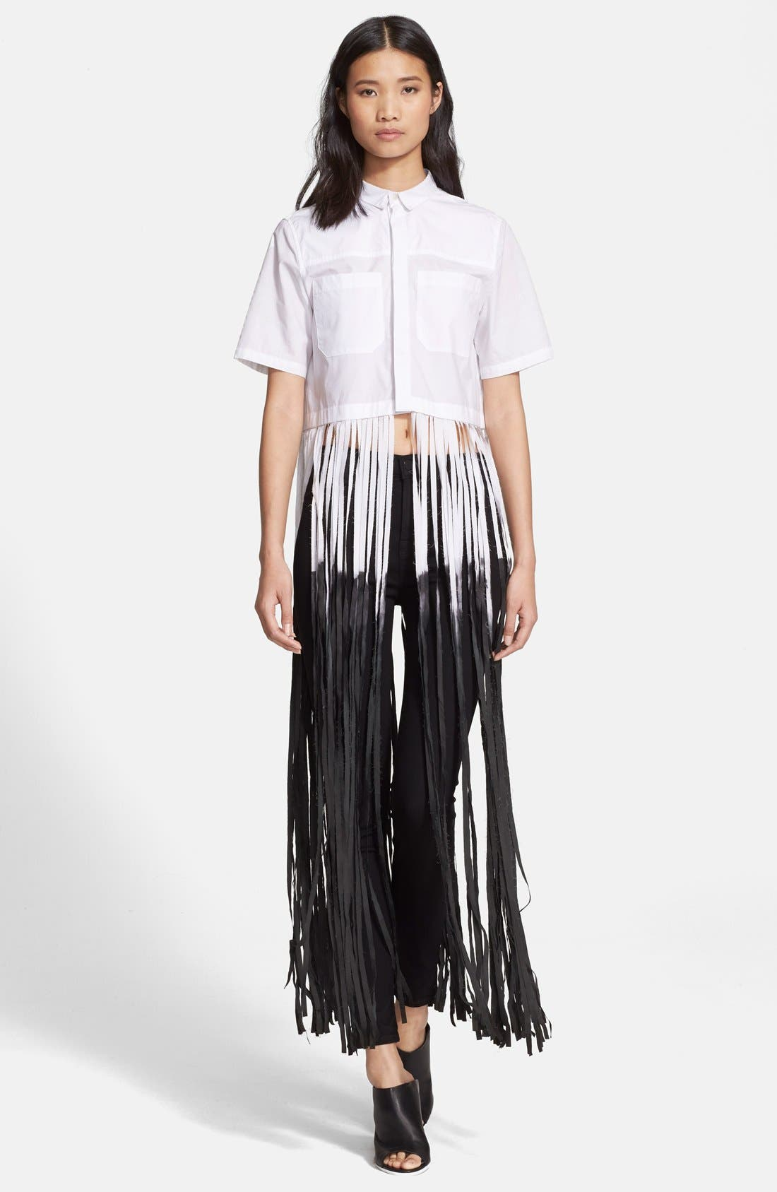 EACH X OTHER Dip Dyed Long Fringe Cotton Poplin Shirt, Main, color, 100