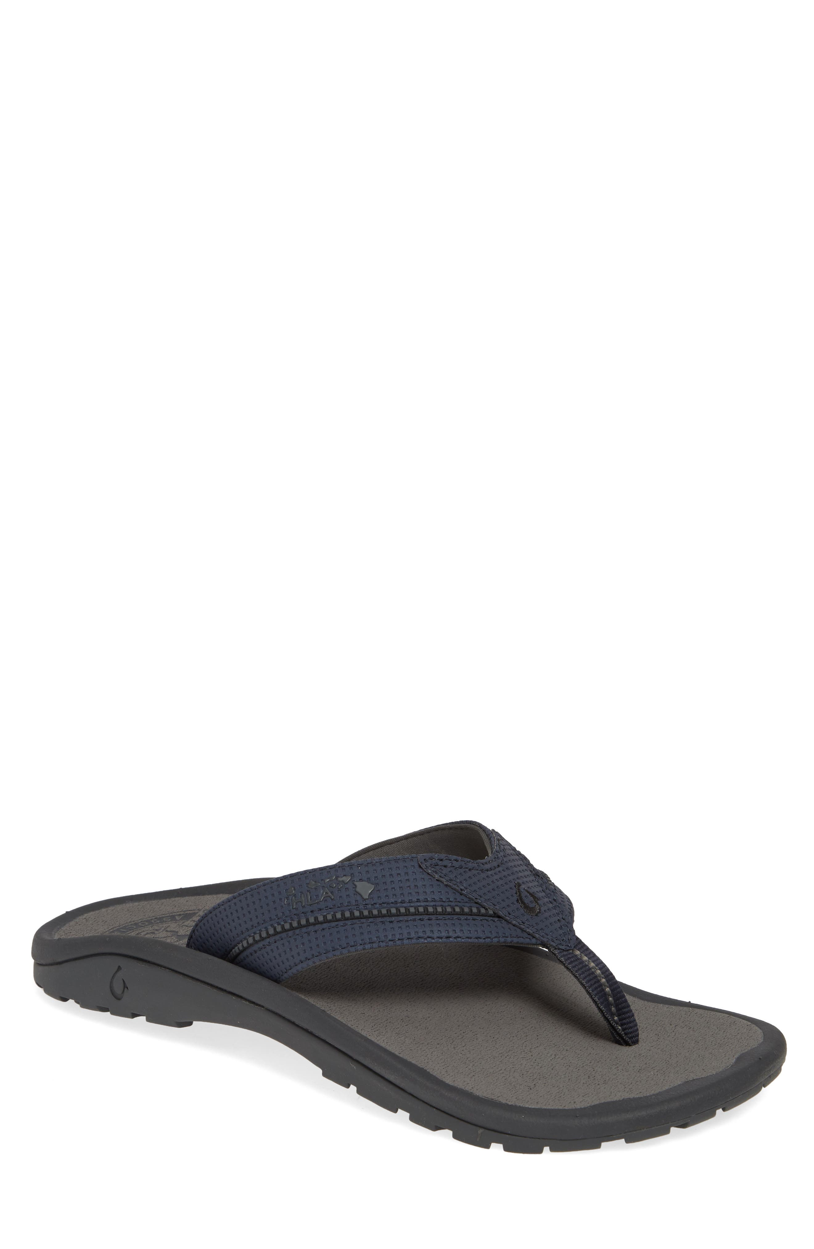 OLUKAI, 'Kia'i II' Flip Flop, Main thumbnail 1, color, TRENCH BLUE/ CHARCOAL