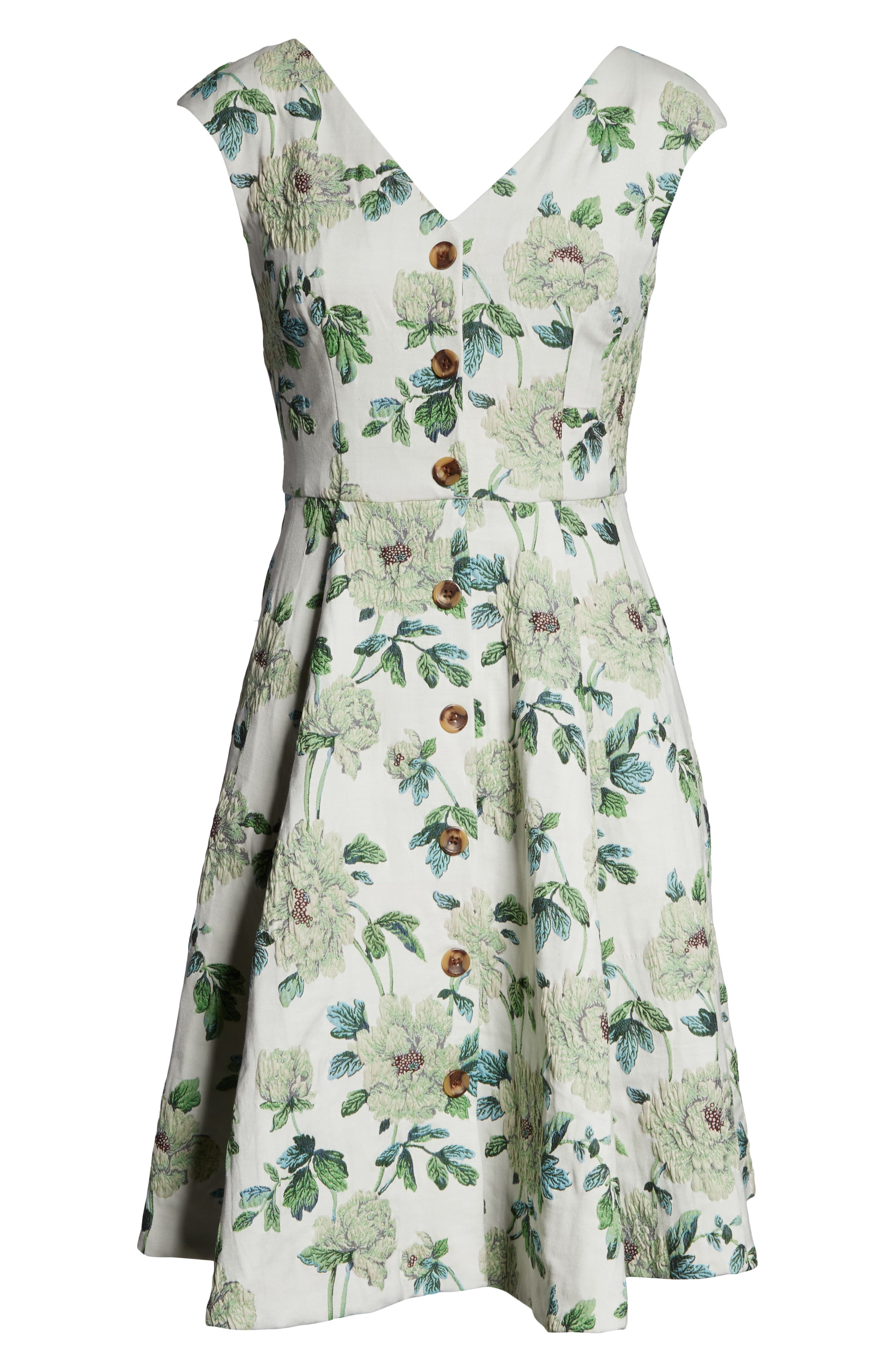 GAL MEETS GLAM COLLECTION, Lilly Button Detail Fit & Flare Dress, Alternate thumbnail 5, color, GREEN MULTI