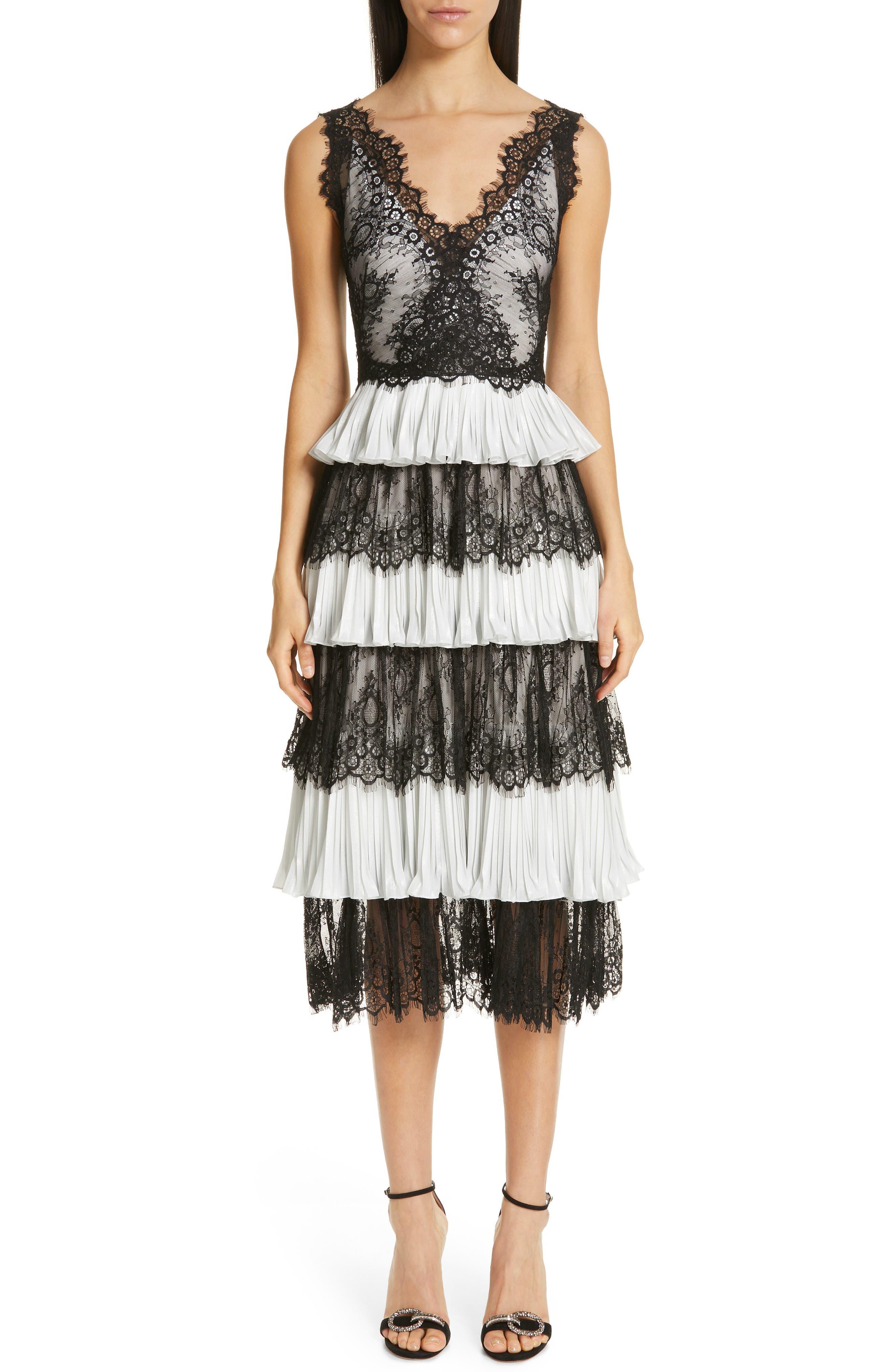 Marchesa Notte Tiered Lace Tea Length Dress, Black