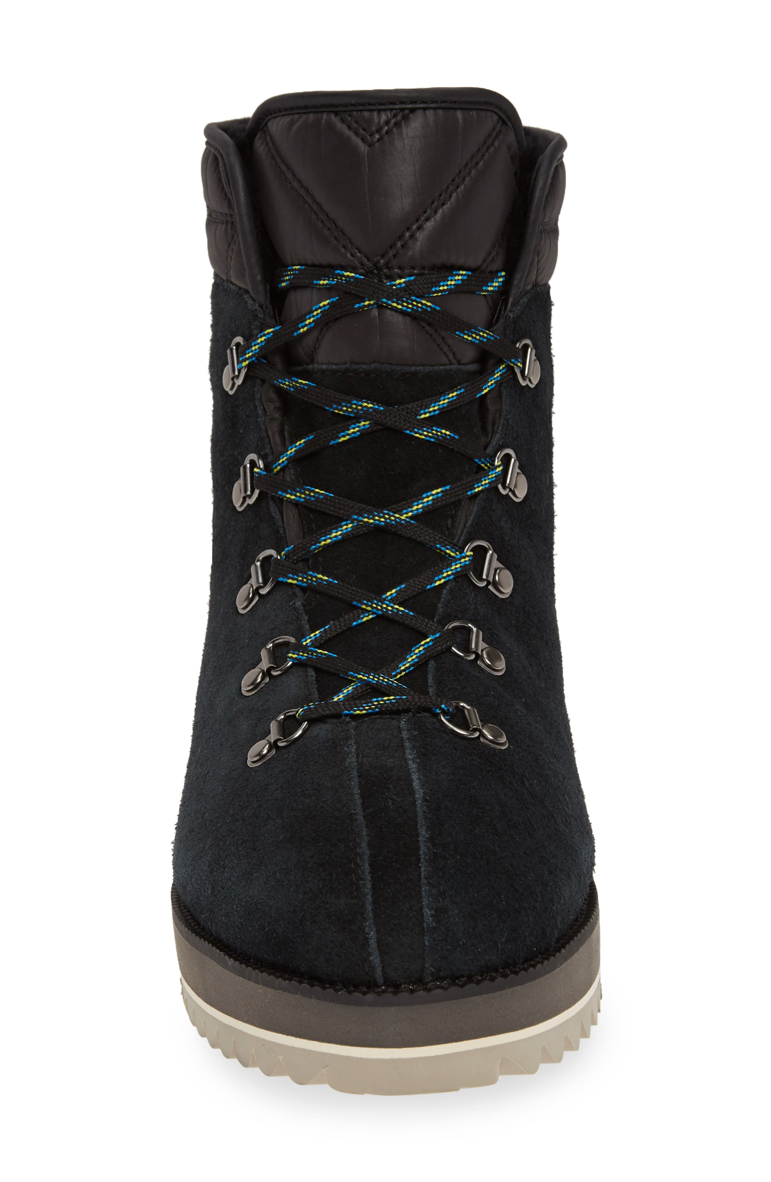 UGG<SUP>®</SUP>, Birch Waterproof Lace-Up Winter Bootie, Alternate thumbnail 4, color, BLACK