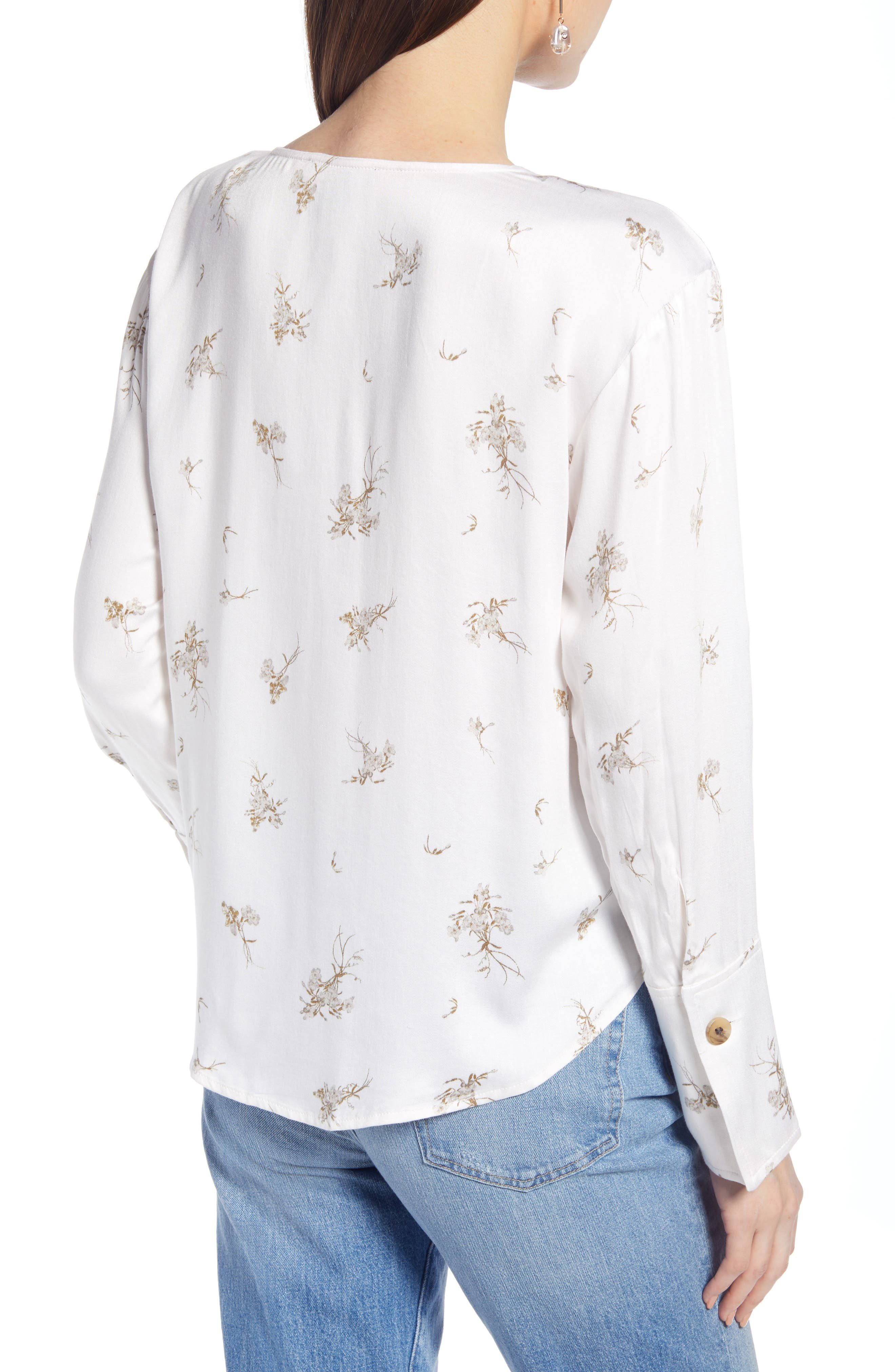 SOMETHING NAVY, Pretty Button Through Top, Alternate thumbnail 4, color, PINK SEA SALT FORGET ME NOT