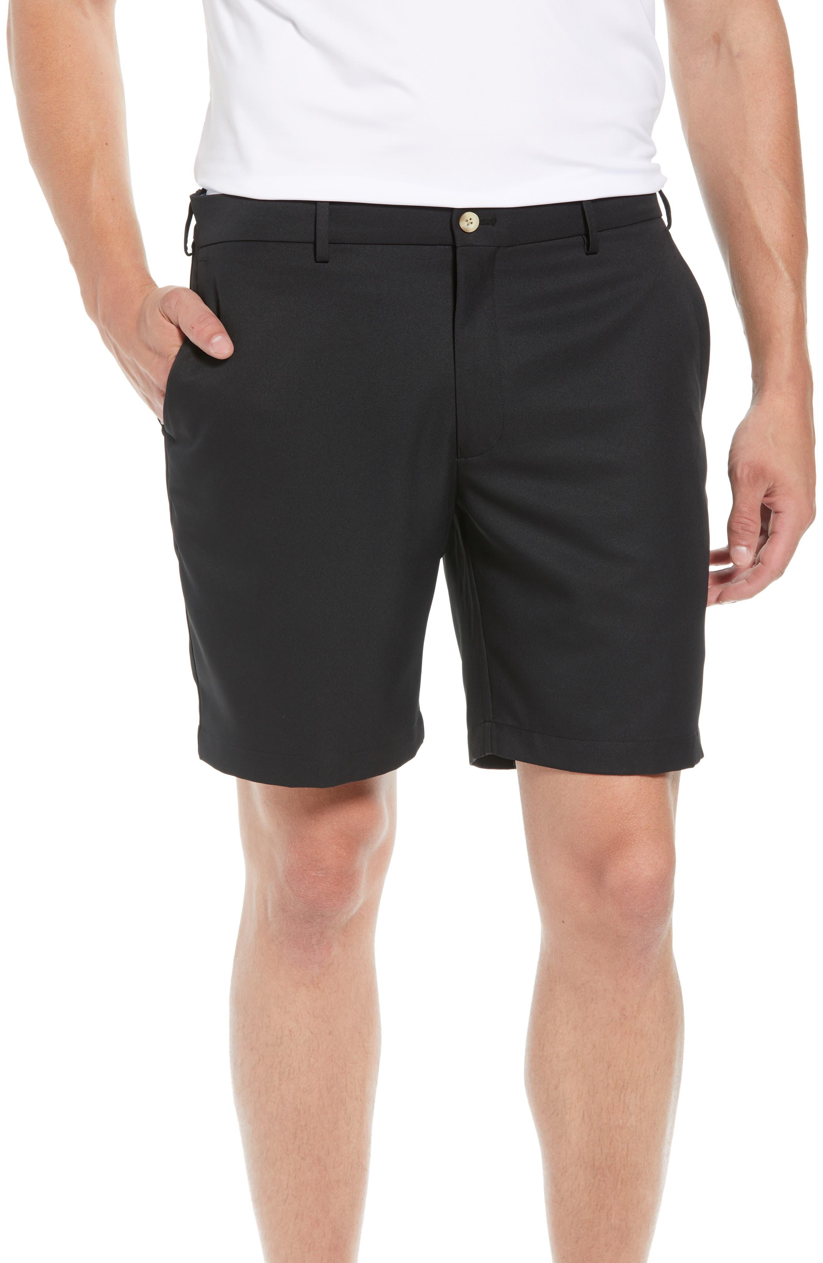 PETER MILLAR Salem High Drape Performance Shorts, Main, color, BLACK