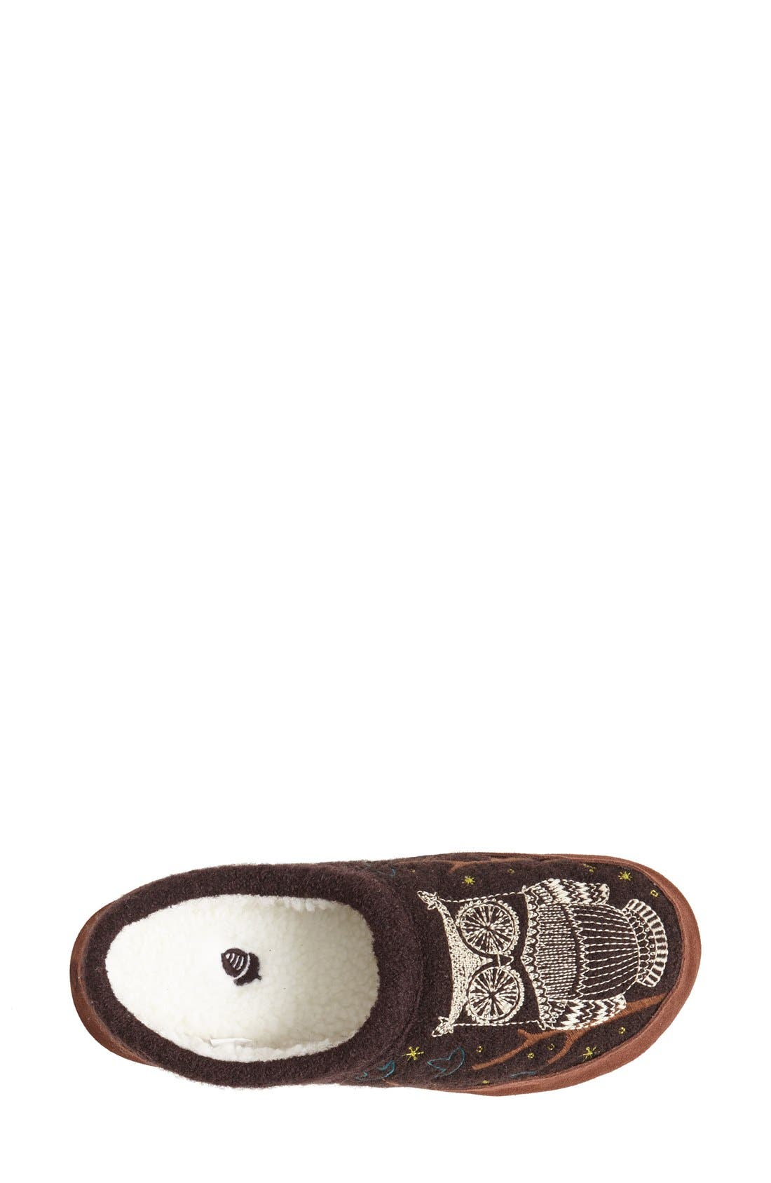 ACORN, 'Forest' Wool Mule Slipper, Alternate thumbnail 2, color, CHOCOLATE