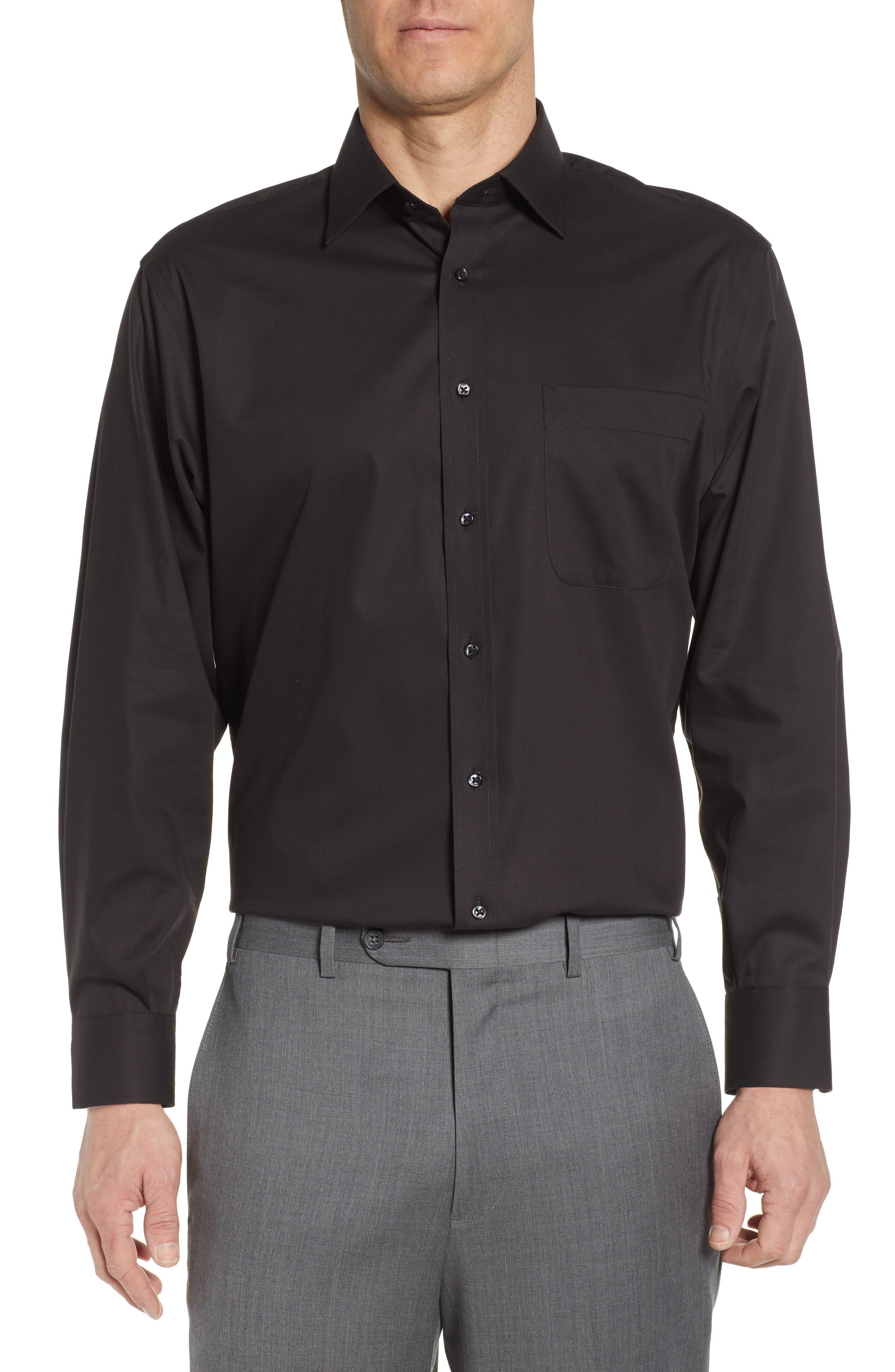 NORDSTROM MEN'S SHOP, Classic Fit Non-Iron Dress Shirt, Main thumbnail 1, color, BLACK