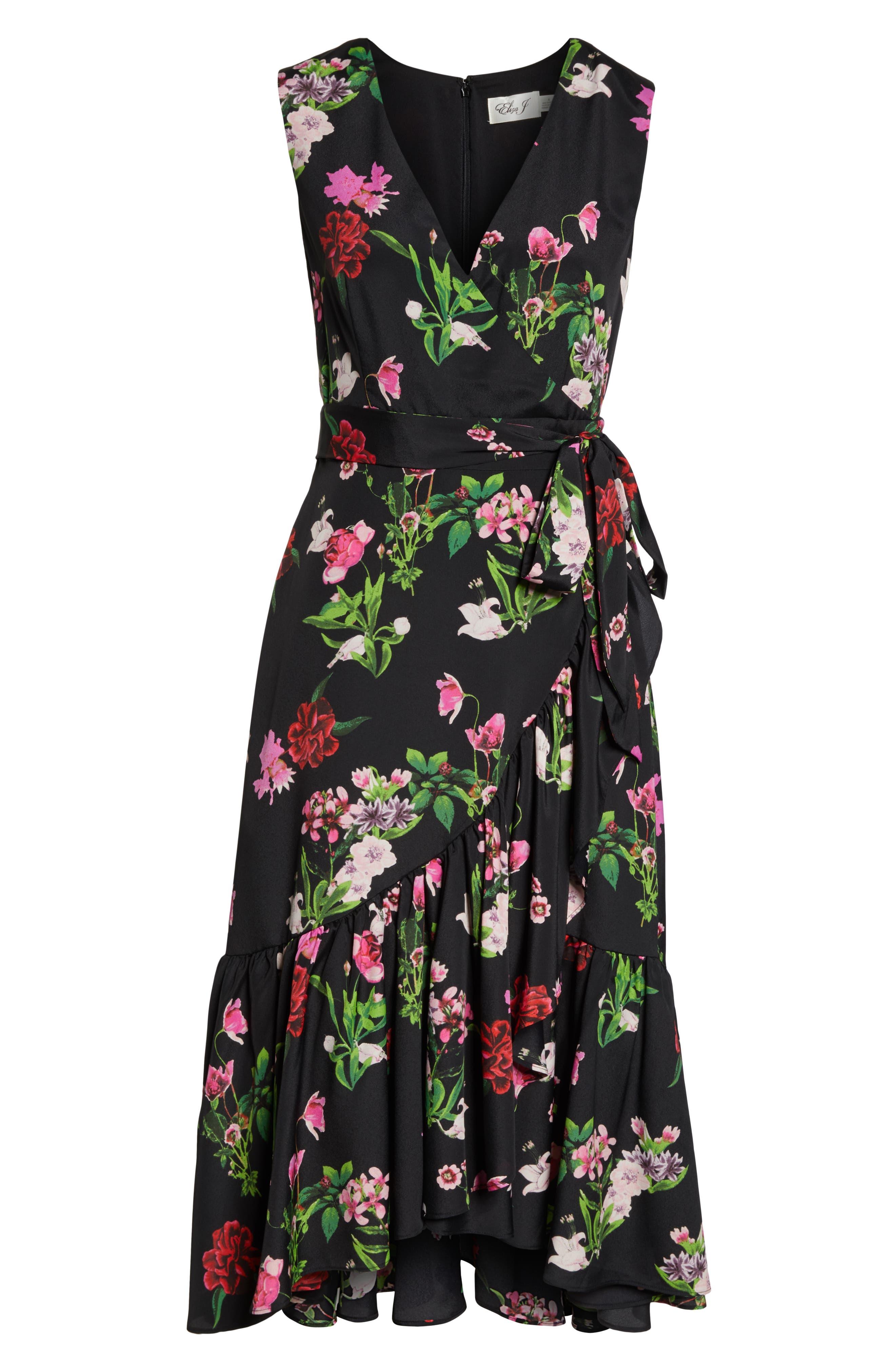 ELIZA J, Ruffle Hem Faux Wrap Dress, Alternate thumbnail 8, color, BLACK