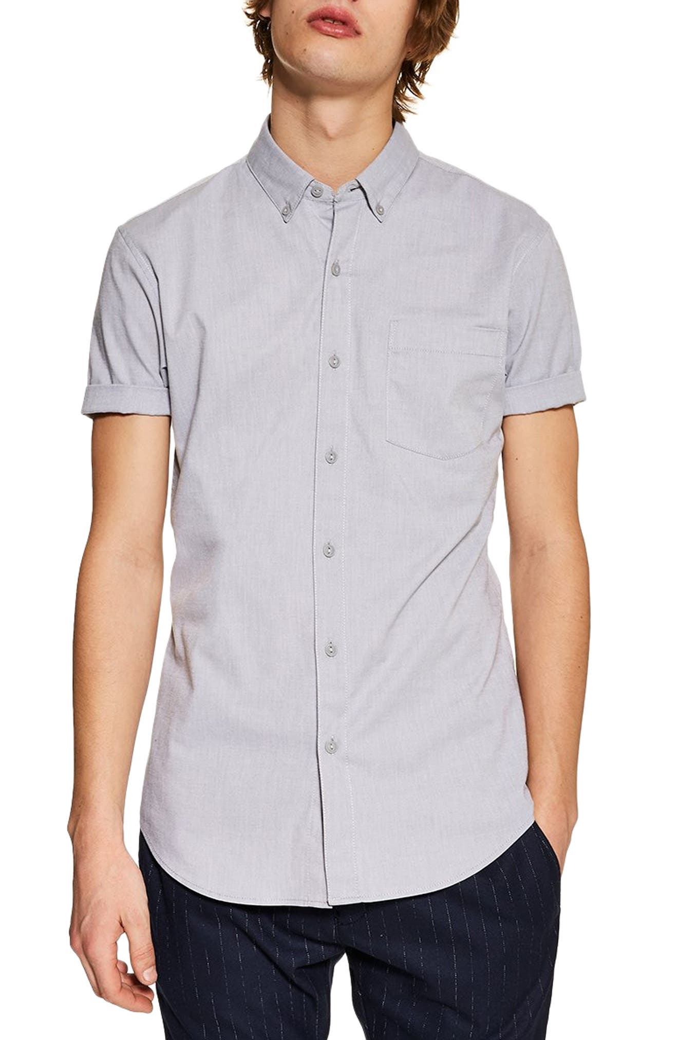 TOPMAN, Muscle Fit Oxford Shirt, Main thumbnail 1, color, GREY