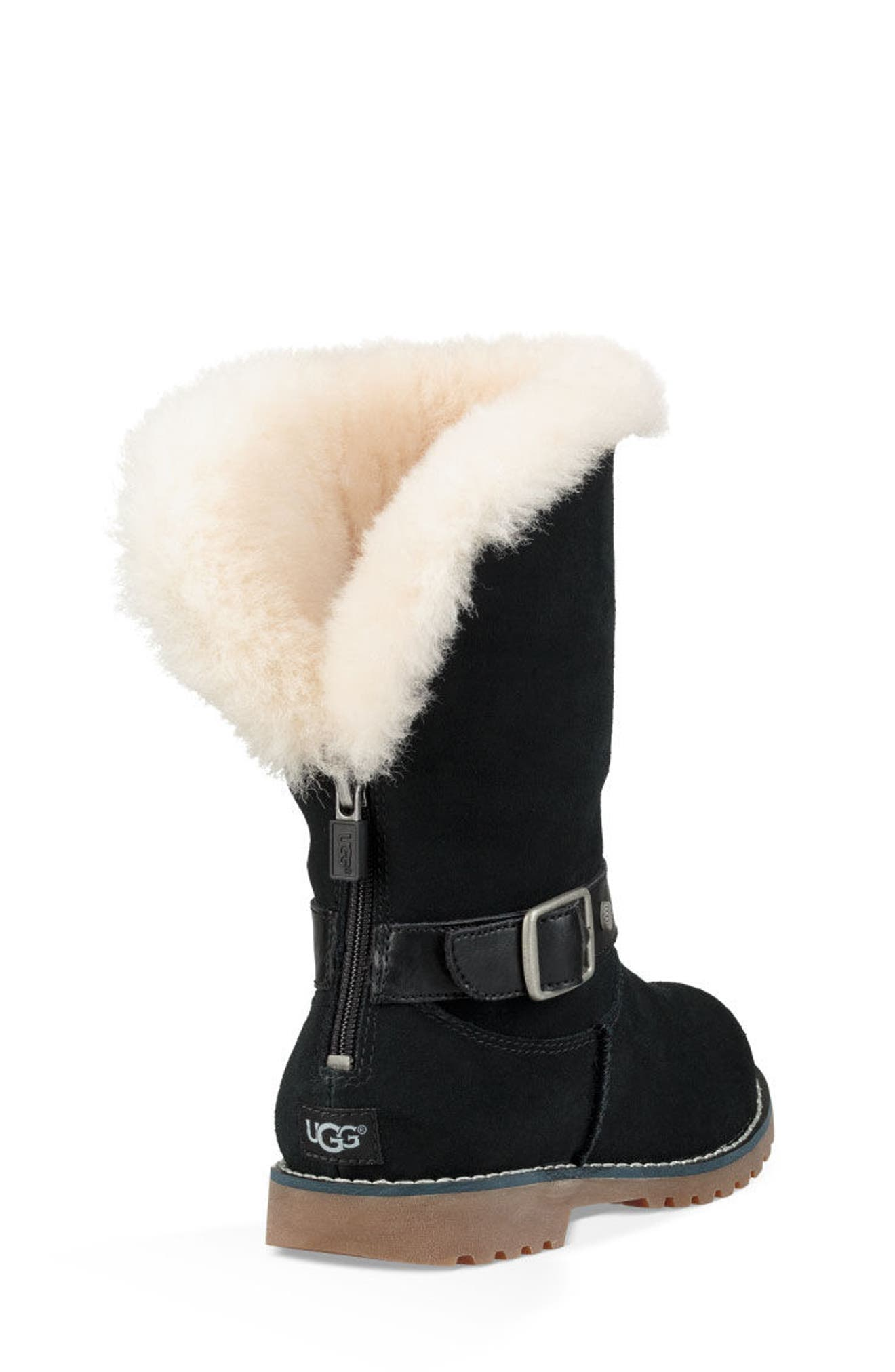 UGG<SUP>®</SUP>, Nessa Genuine Shearling Boot, Alternate thumbnail 3, color, BLACK