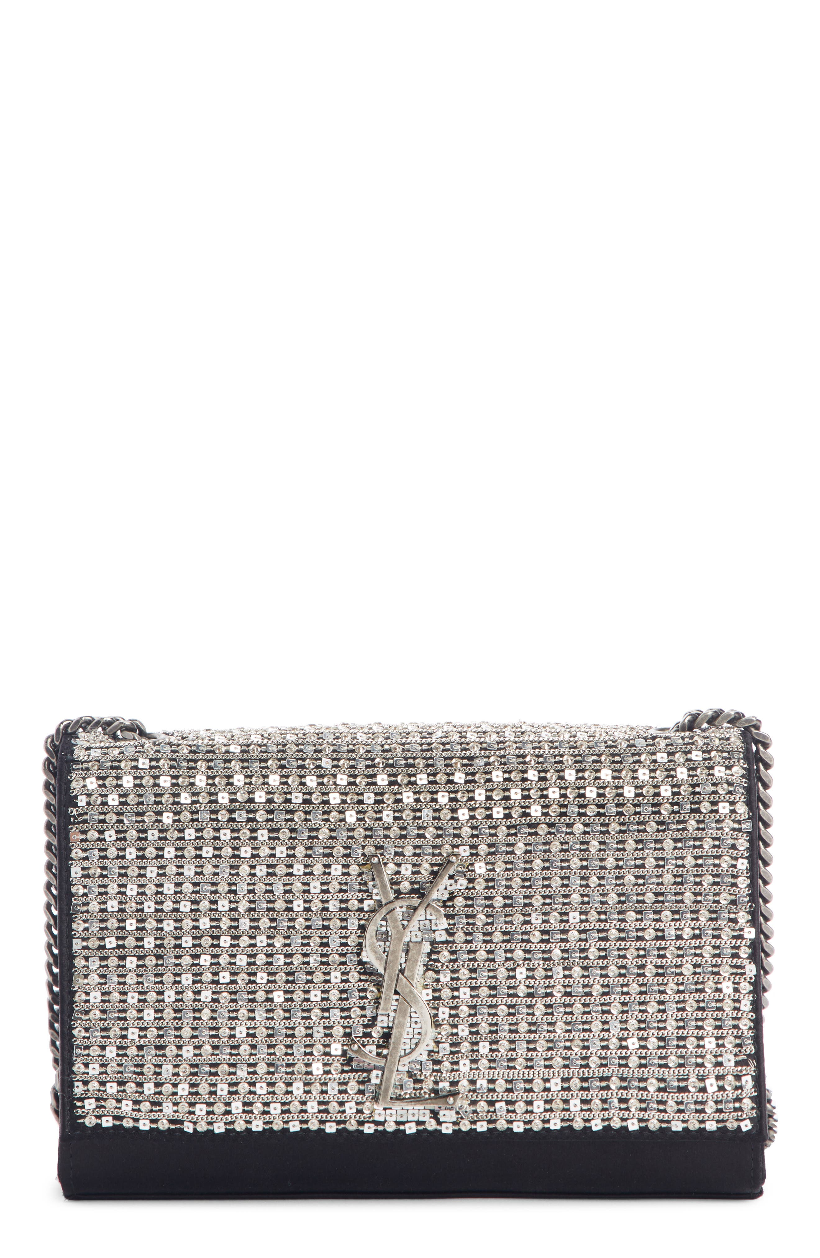 SAINT LAURENT Small Kate Paillettes Satin Crossbody Bag, Main, color, AGED SILVER/ NERO