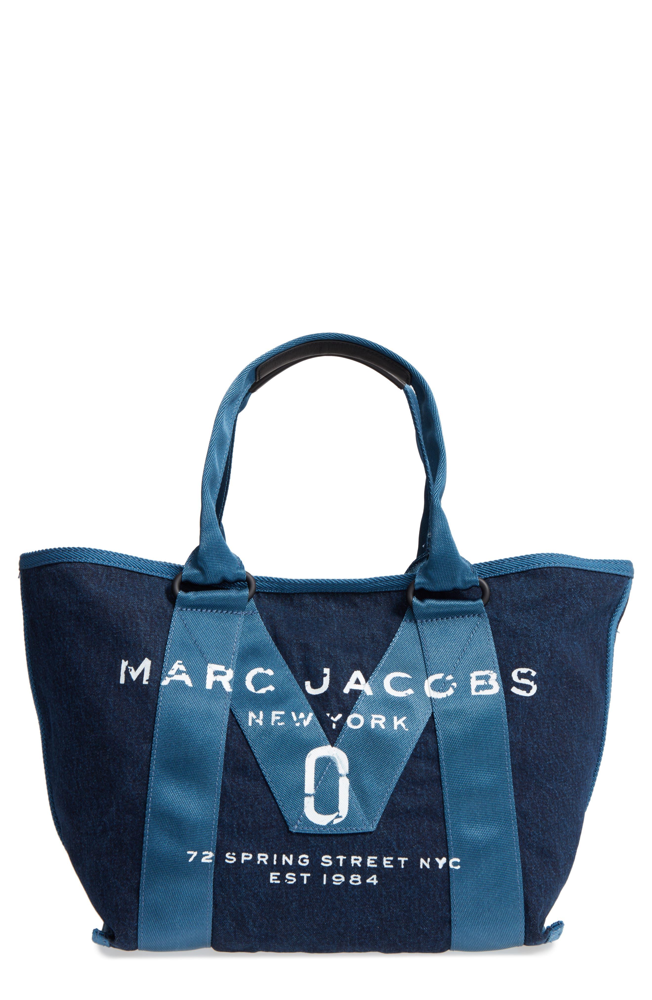 MARC JACOBS New Logo Denim Tote, Main, color, 423