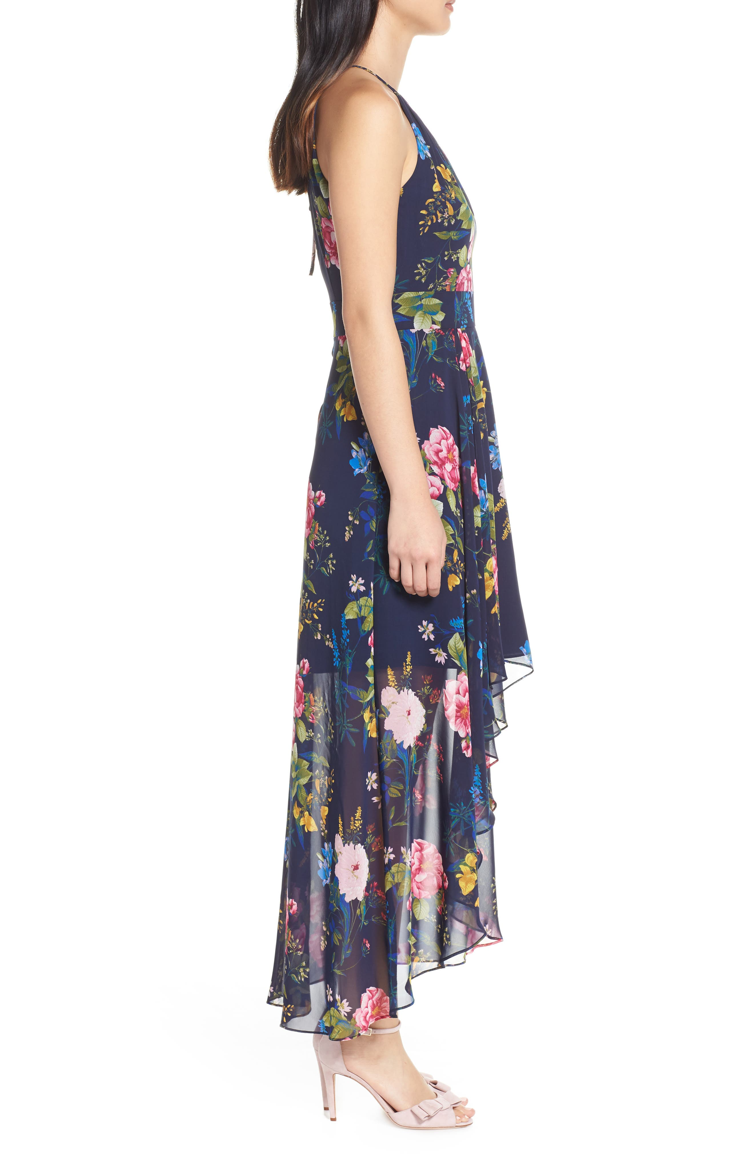 ELIZA J, Floral Print Chiffon Halter Dress, Alternate thumbnail 4, color, NAVY