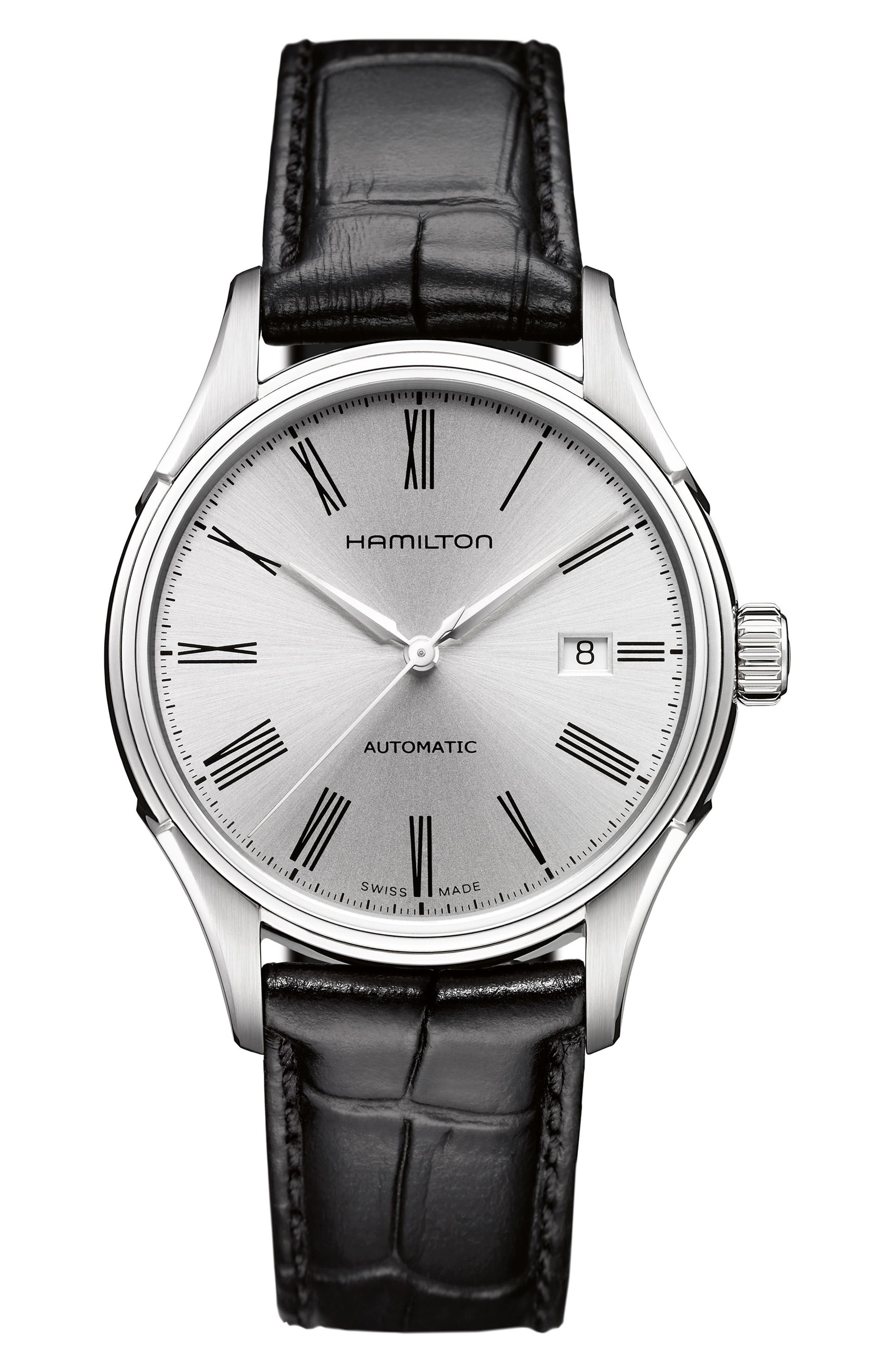 HAMILTON Valiant Automatic Leather Strap Watch, 40mm, Main, color, 001