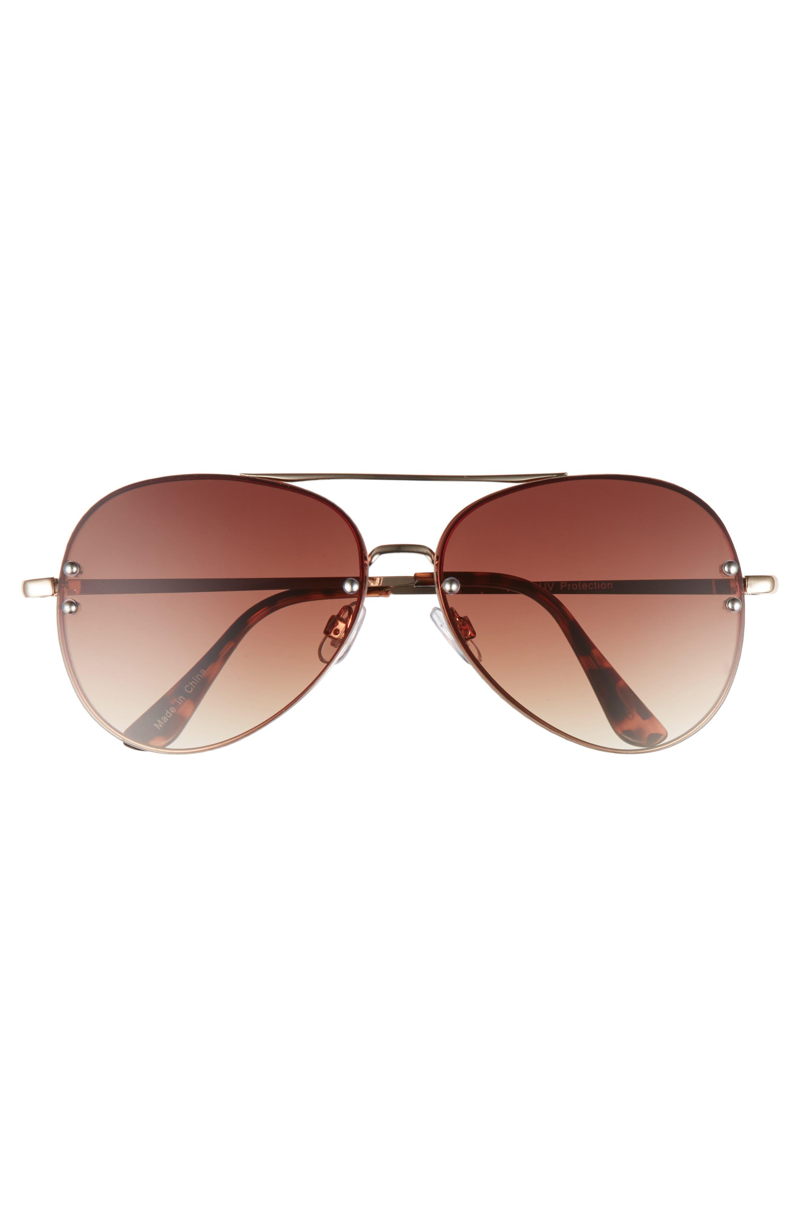 BP., 60mm Oversize Mirrored Aviator Sunglasses, Alternate thumbnail 3, color, GOLD/ BROWN
