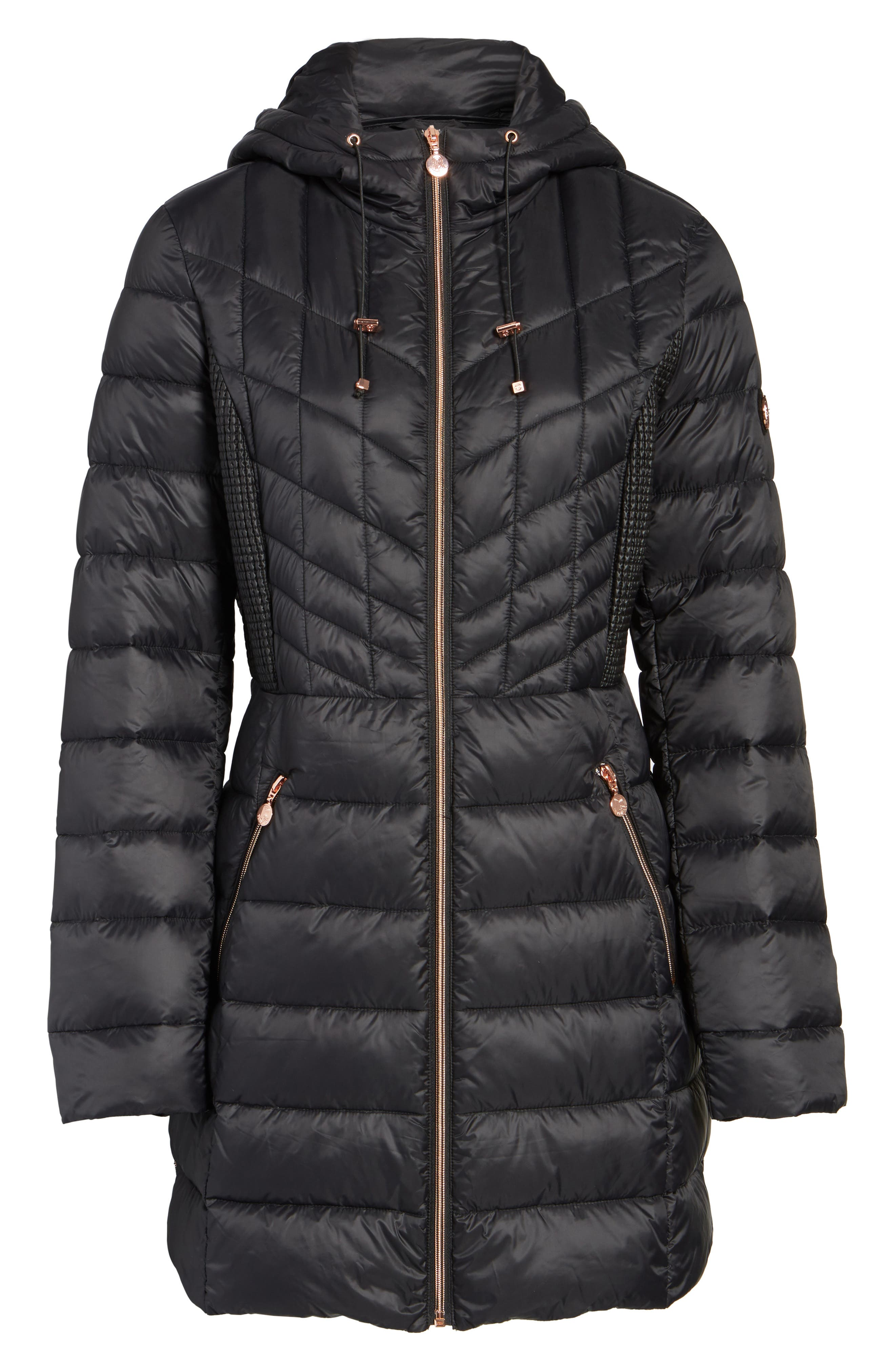 BERNARDO, Hooded Packable Down & PrimaLoft<sup>®</sup> Coat, Alternate thumbnail 6, color, BLACK