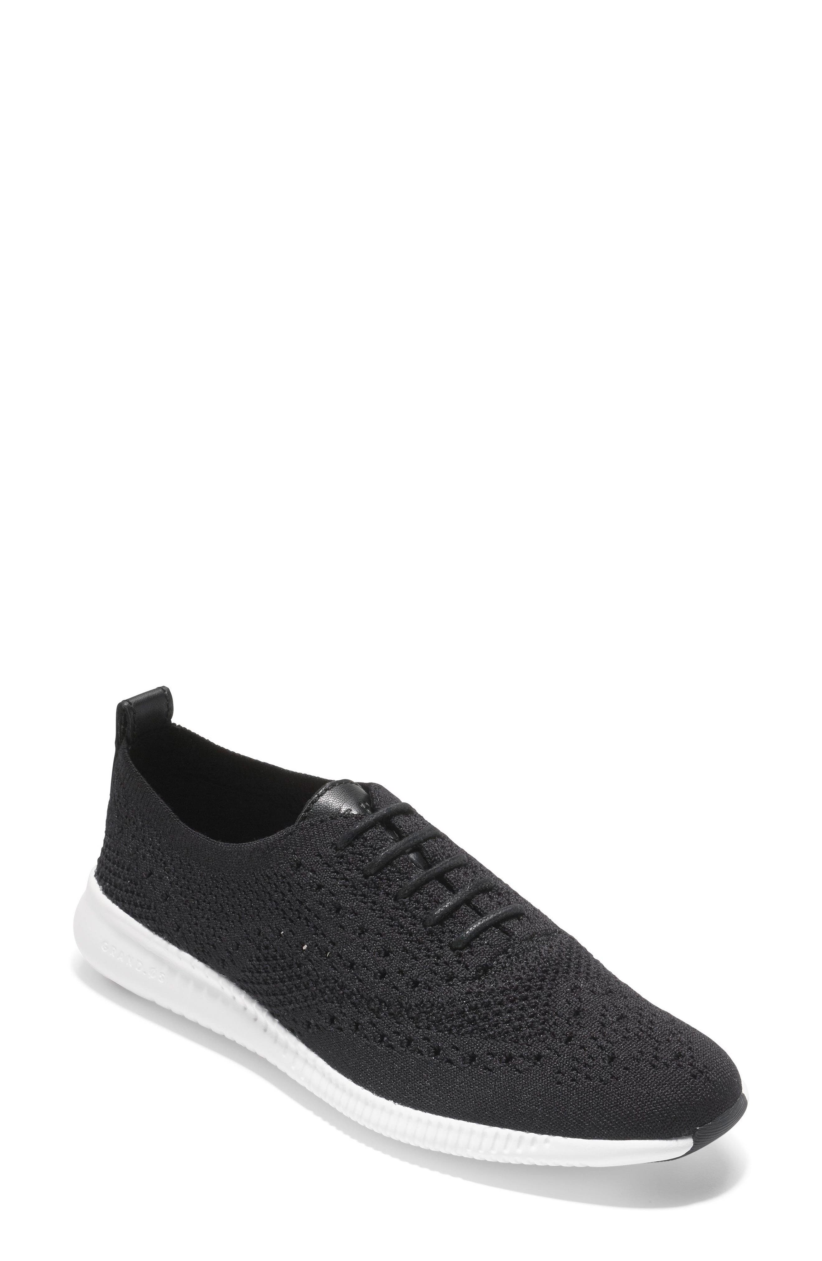 COLE HAAN, 2.ZERØGRAND Stitchlite Wingtip Sneaker, Main thumbnail 1, color, BLACK FABRIC