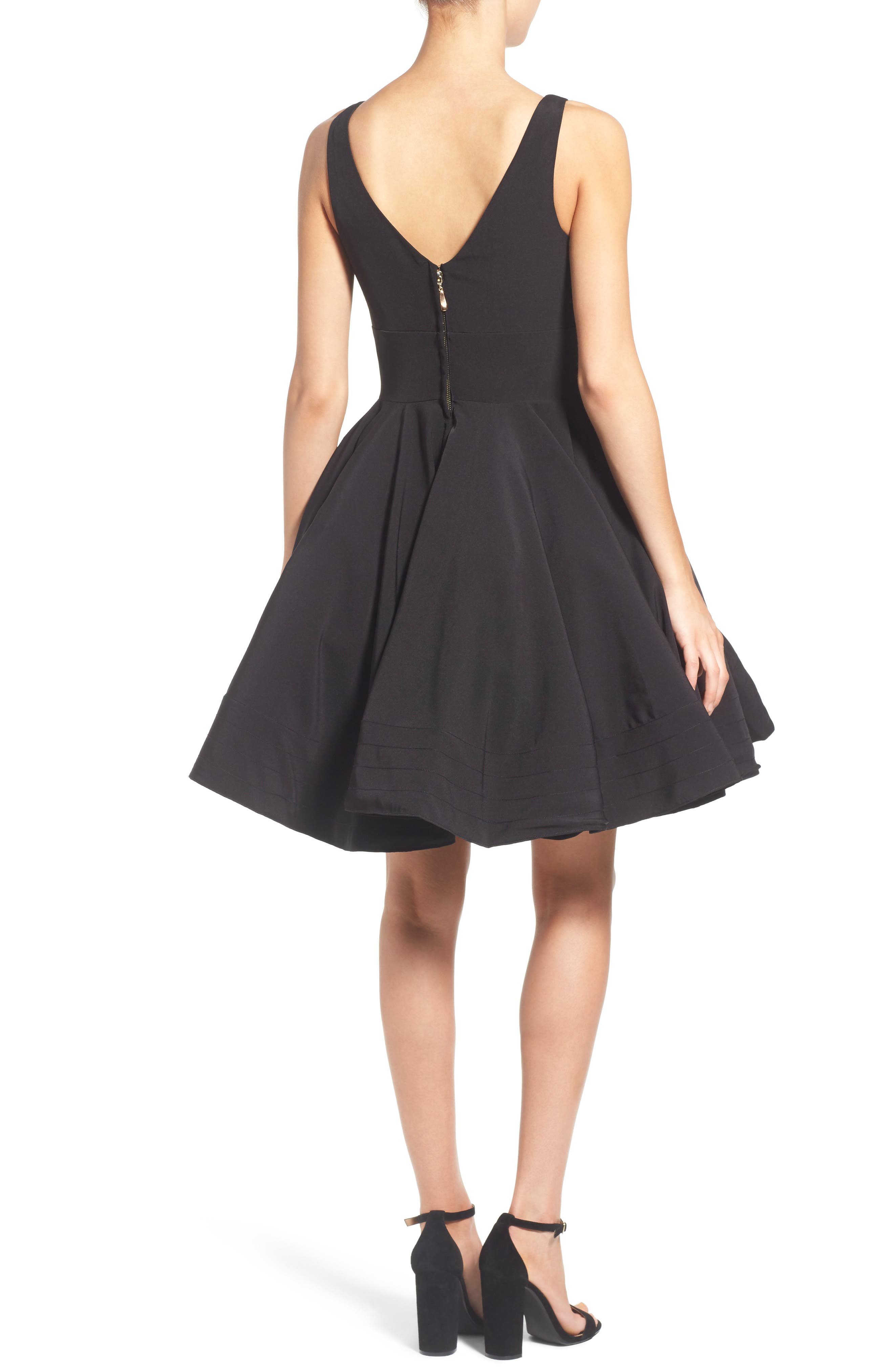 IEENA FOR MAC DUGGAL, Double V-Neck Fit & Flare Party Dress, Main thumbnail 1, color, BLACK