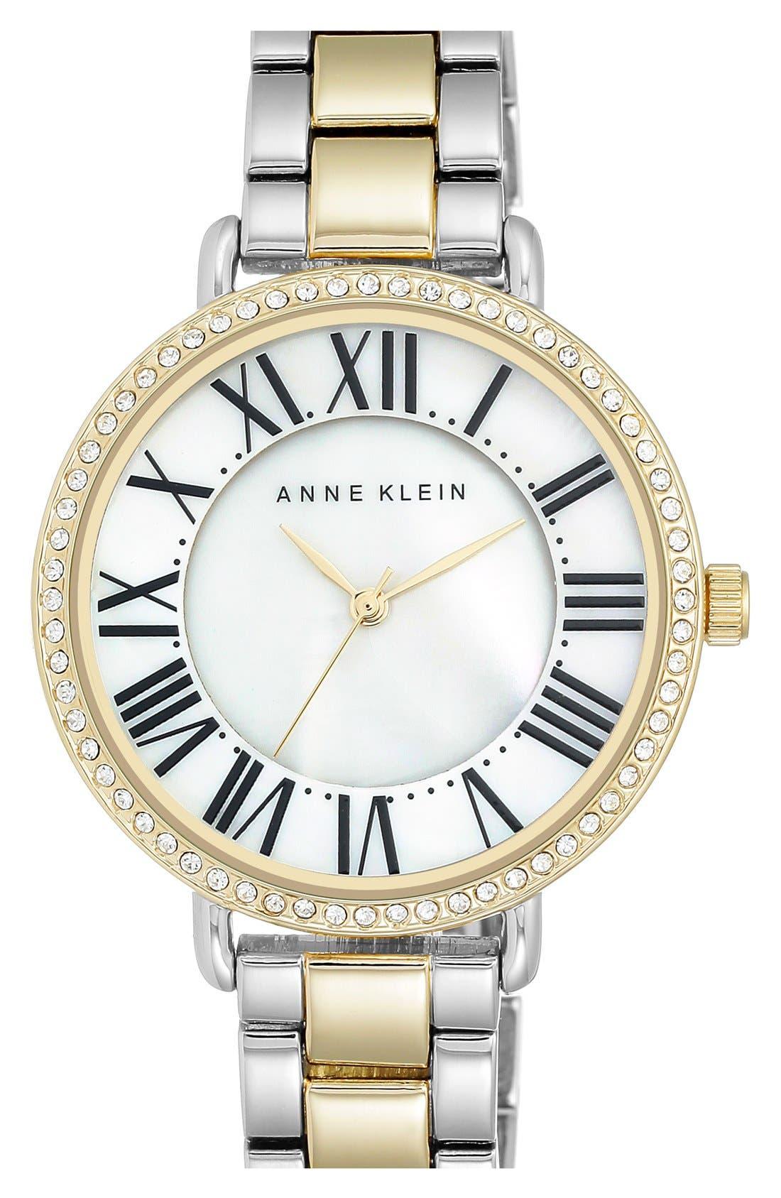 ANNE KLEIN, Round Bracelet Watch, 36mm, Main thumbnail 1, color, 040