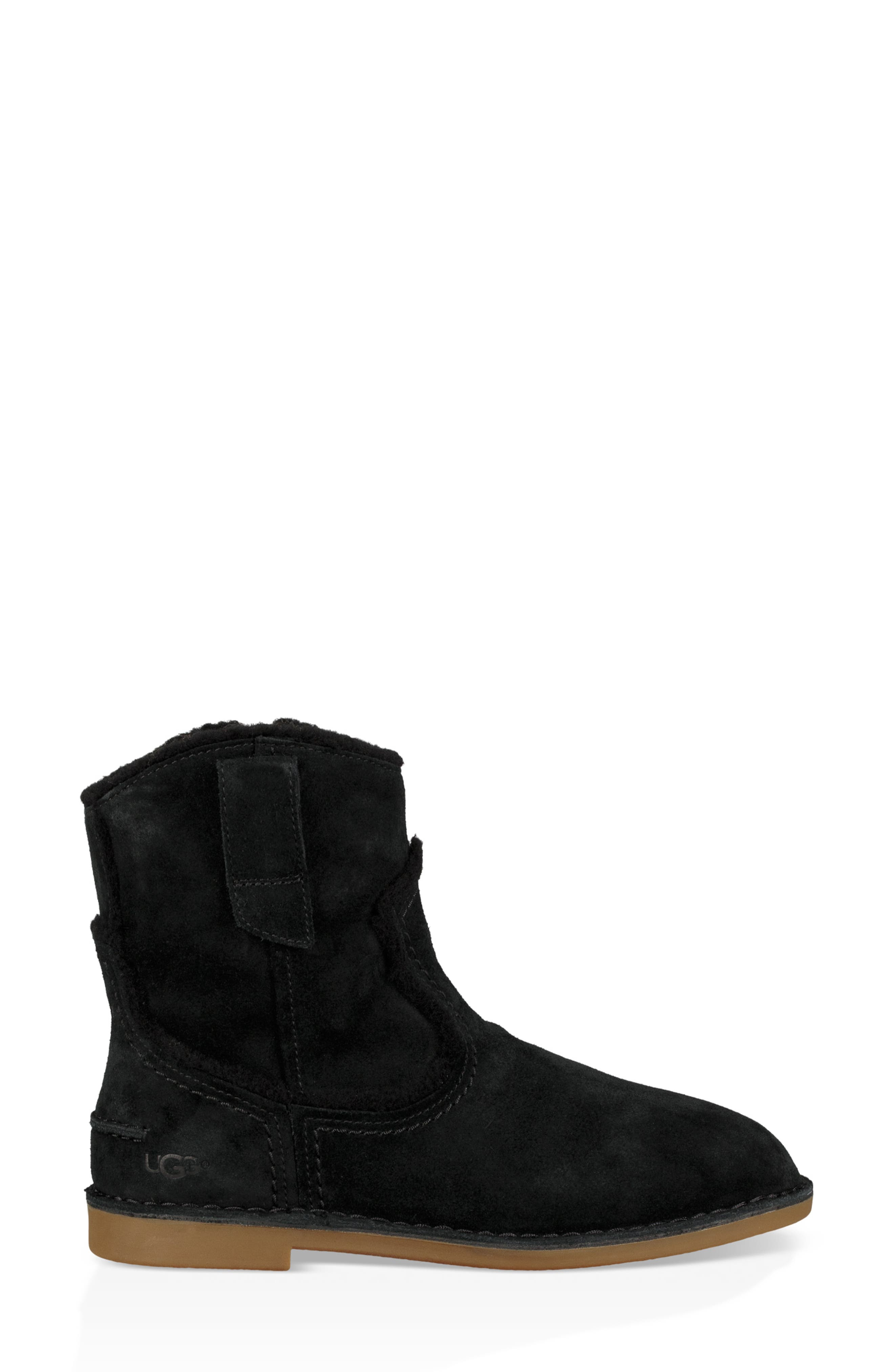 UGG<SUP>®</SUP>, Catica Boot, Alternate thumbnail 3, color, BLACK SUEDE