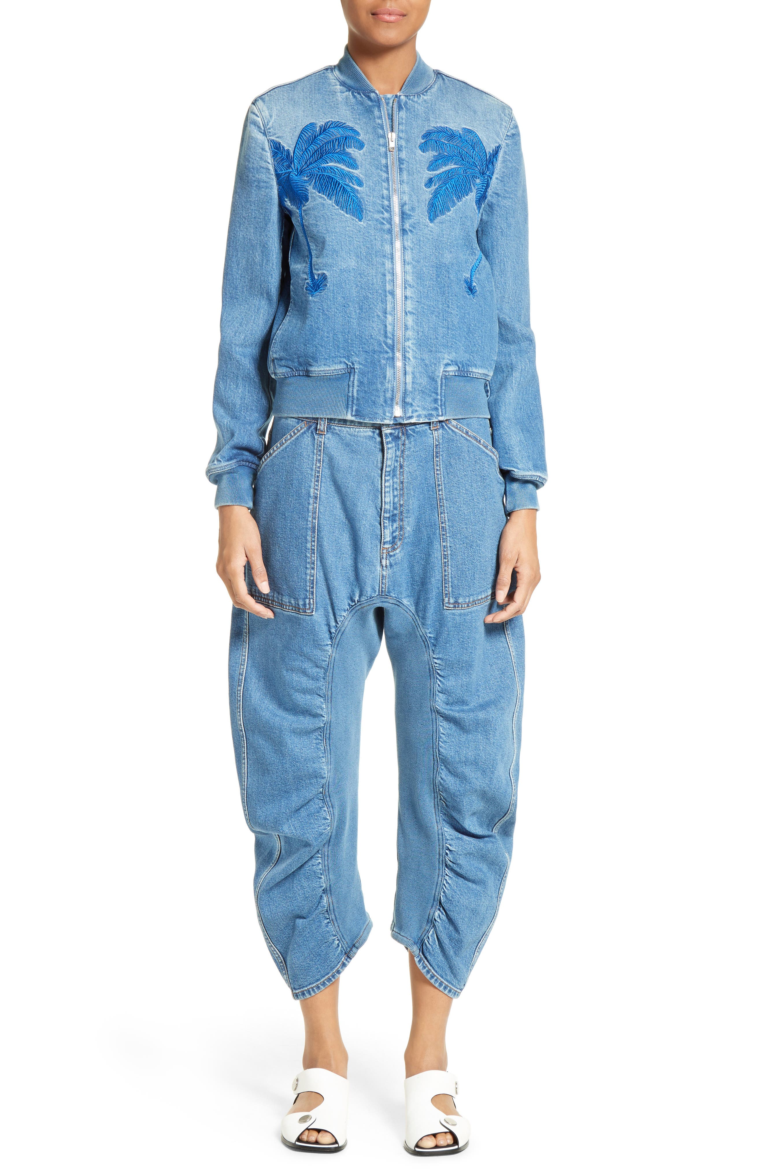 STELLA MCCARTNEY, Xenia Ruched Crop Jeans, Main thumbnail 1, color, 400