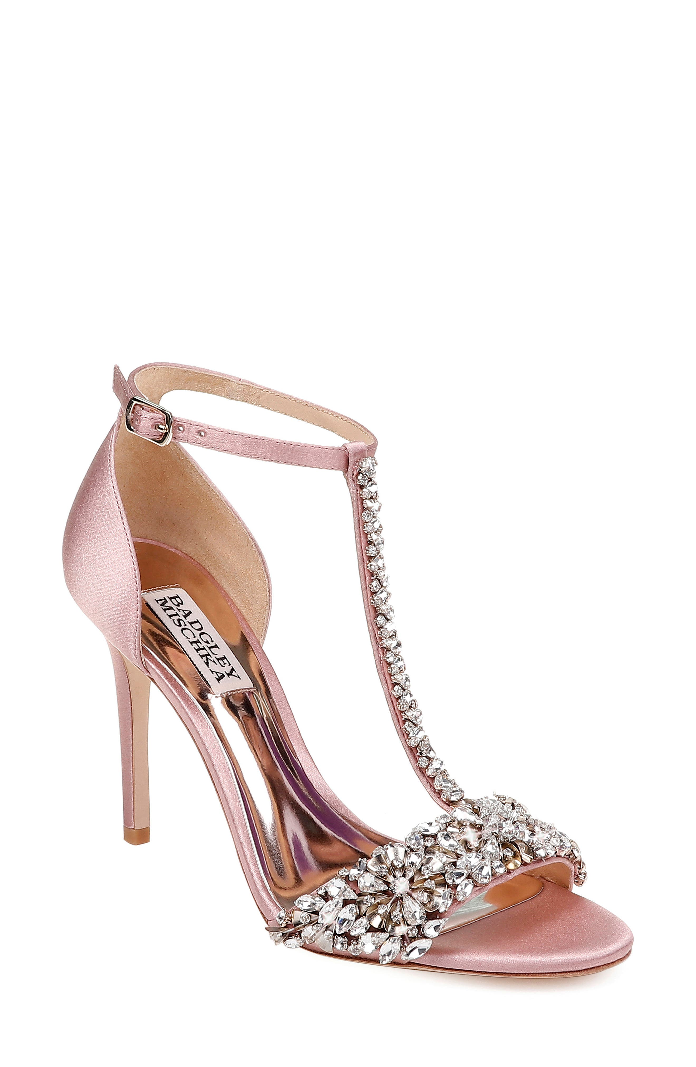 BADGLEY MISCHKA COLLECTION Badgley Mischka Crystal Embellished Sandal, Main, color, PINK ROSE SATIN