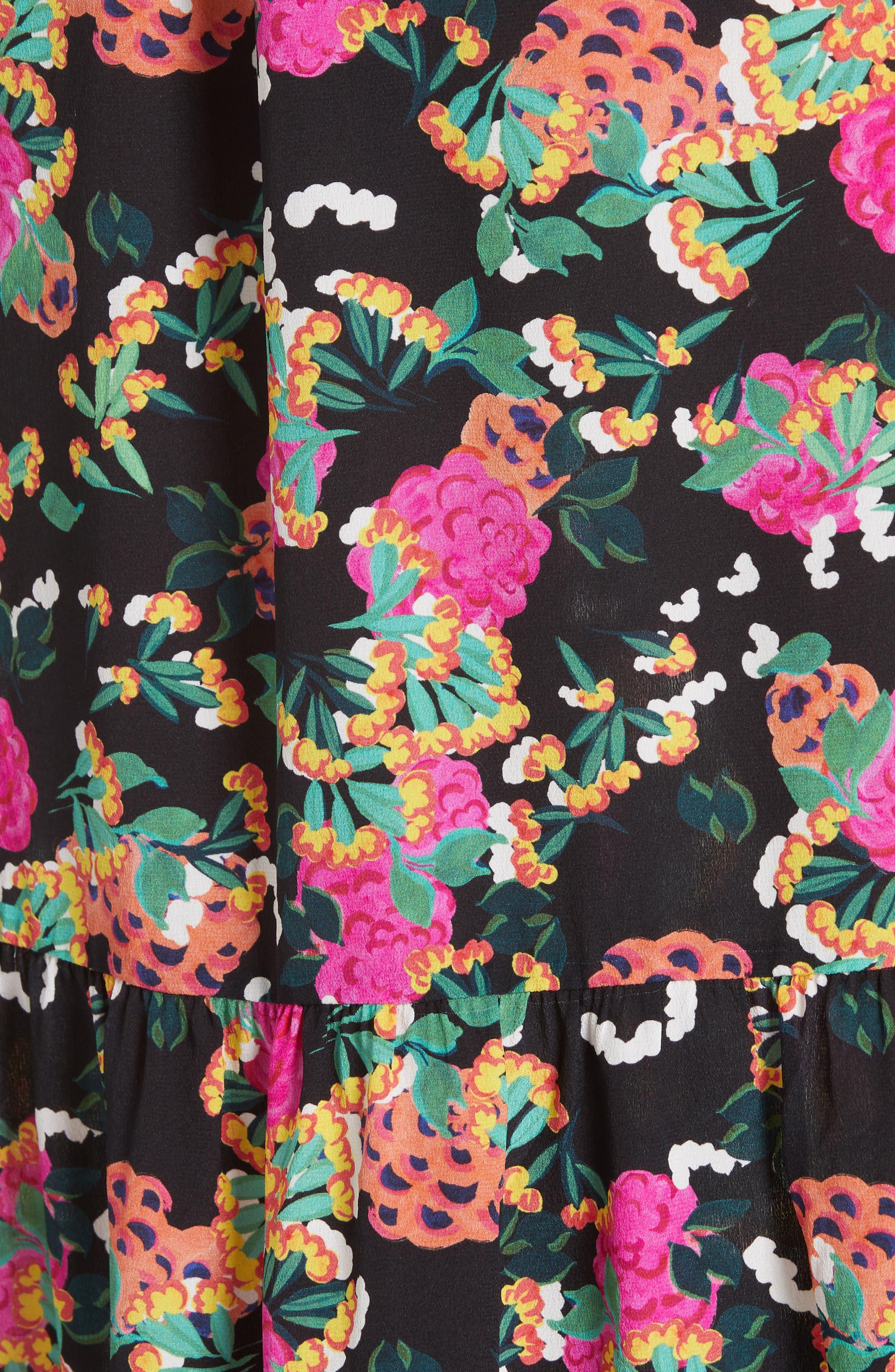 SALONI, Ginny Silk Midi Dress, Alternate thumbnail 5, color, HYDRANGEA/ EMBELLISHMENT