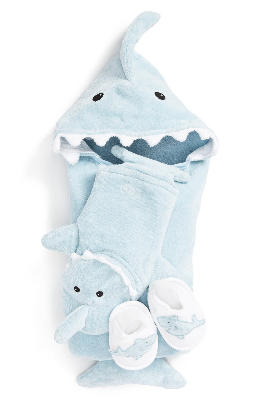 BABY ASPEN, 'Let the Fin Begin' Hooded Terry Robe, Bath Mitt & Slippers Set, Main thumbnail 1, color, LIGHT BLUE