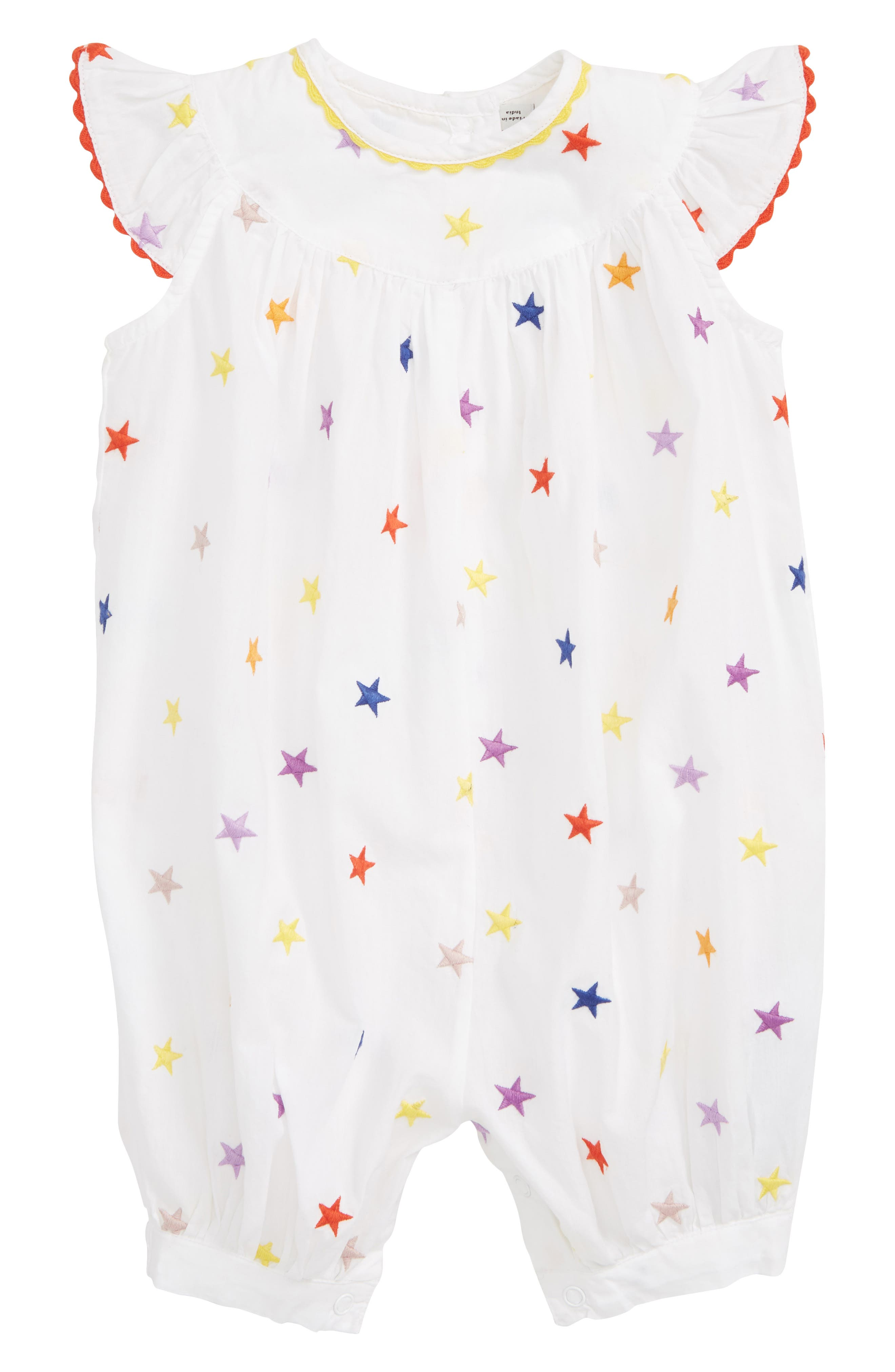 STELLA MCCARTNEY KIDS, Stella McCartney Embroidered Stars Romper, Main thumbnail 1, color, 9094 WHITE
