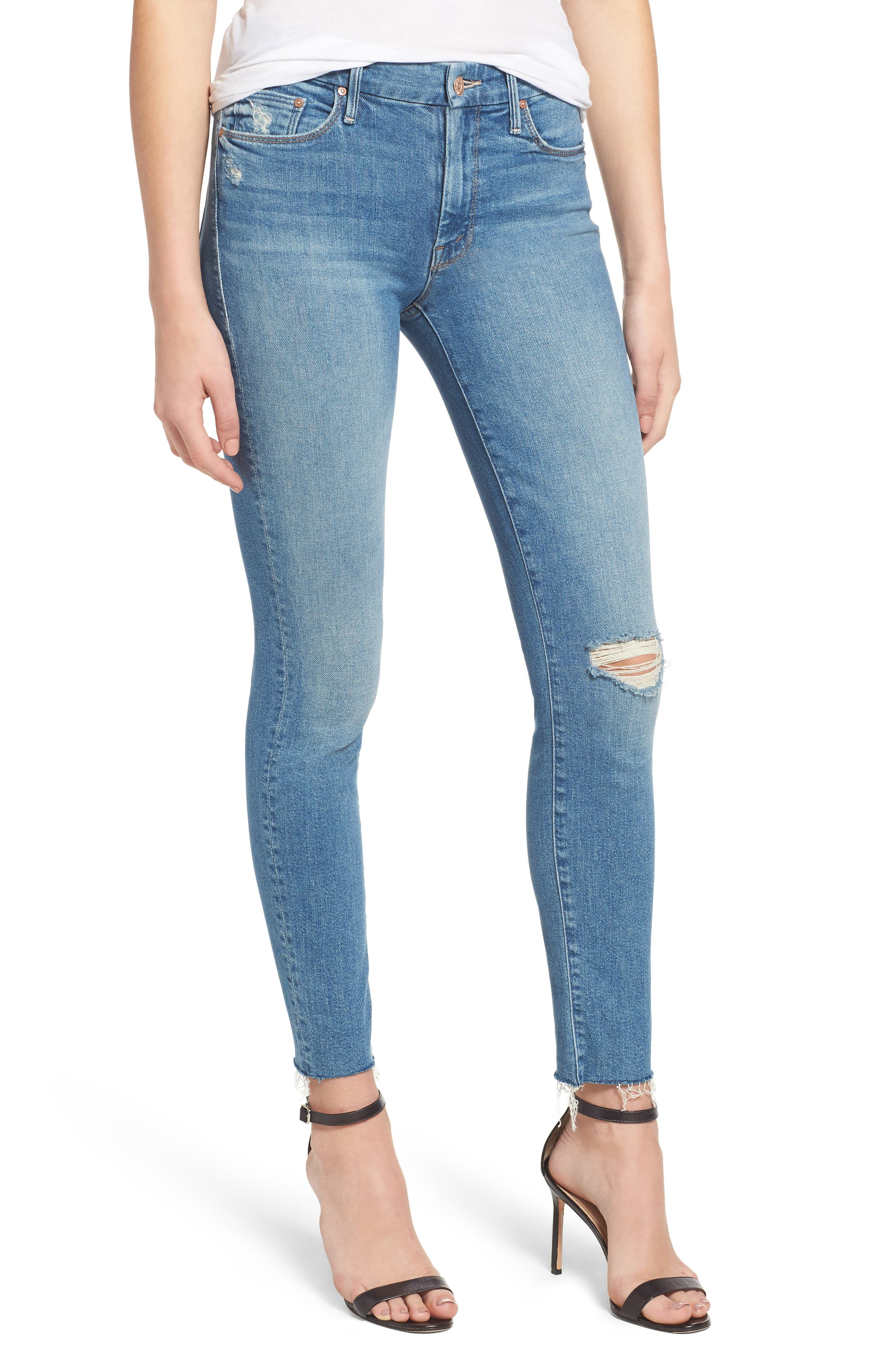 MOTHER, The Looker Frayed Ankle Skinny Jeans, Main thumbnail 1, color, LOVE GUN