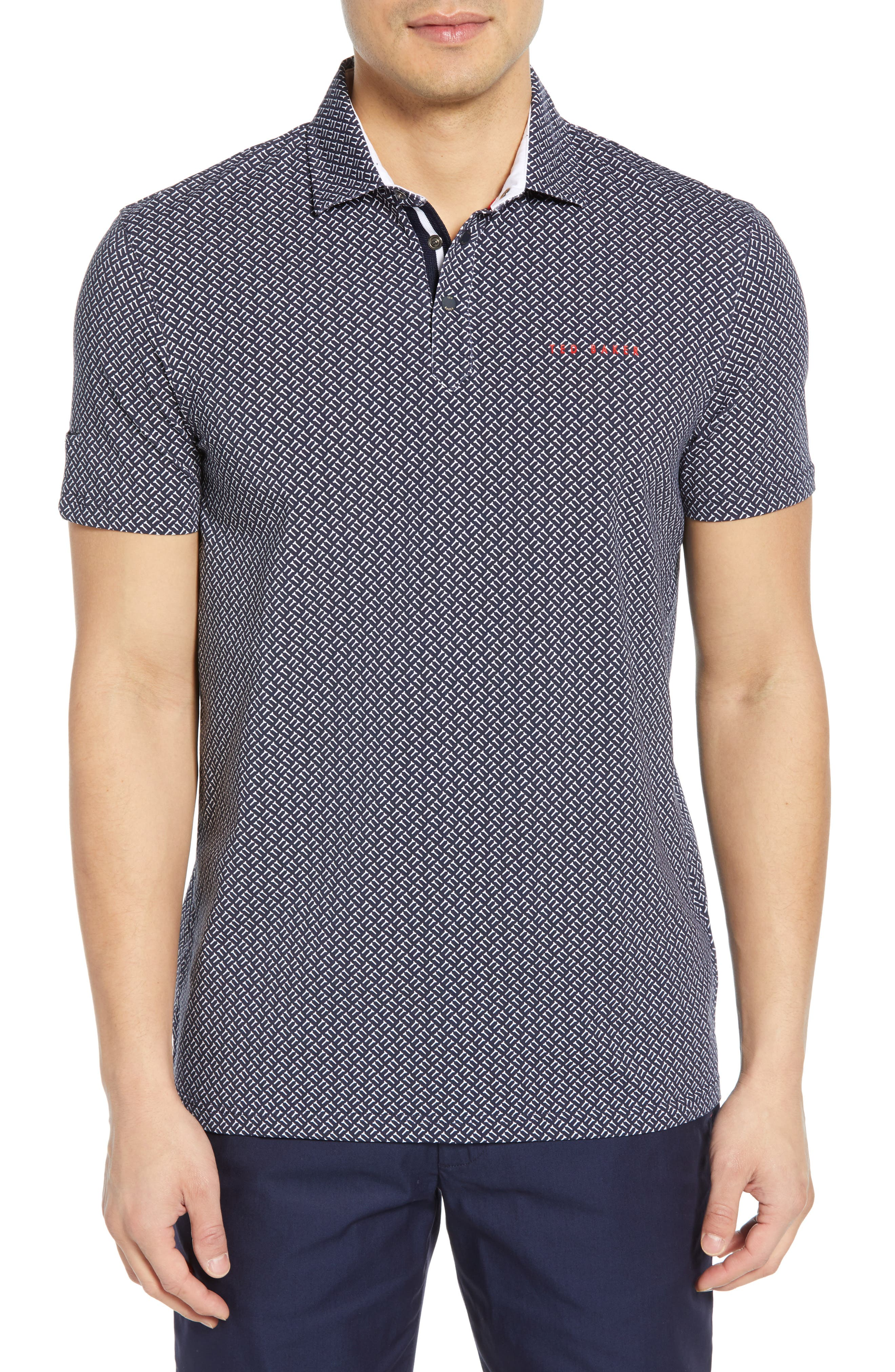 TED BAKER LONDON, Wallnot Slim Fit Golf Polo, Main thumbnail 1, color, NAVY