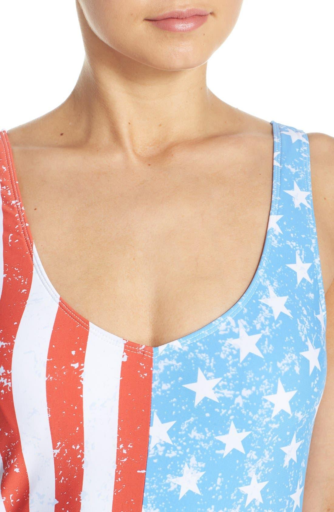 THE BIKINI LAB, 'American Flag - Stars & Stripes' One-Piece Swimsuit, Alternate thumbnail 4, color, 400