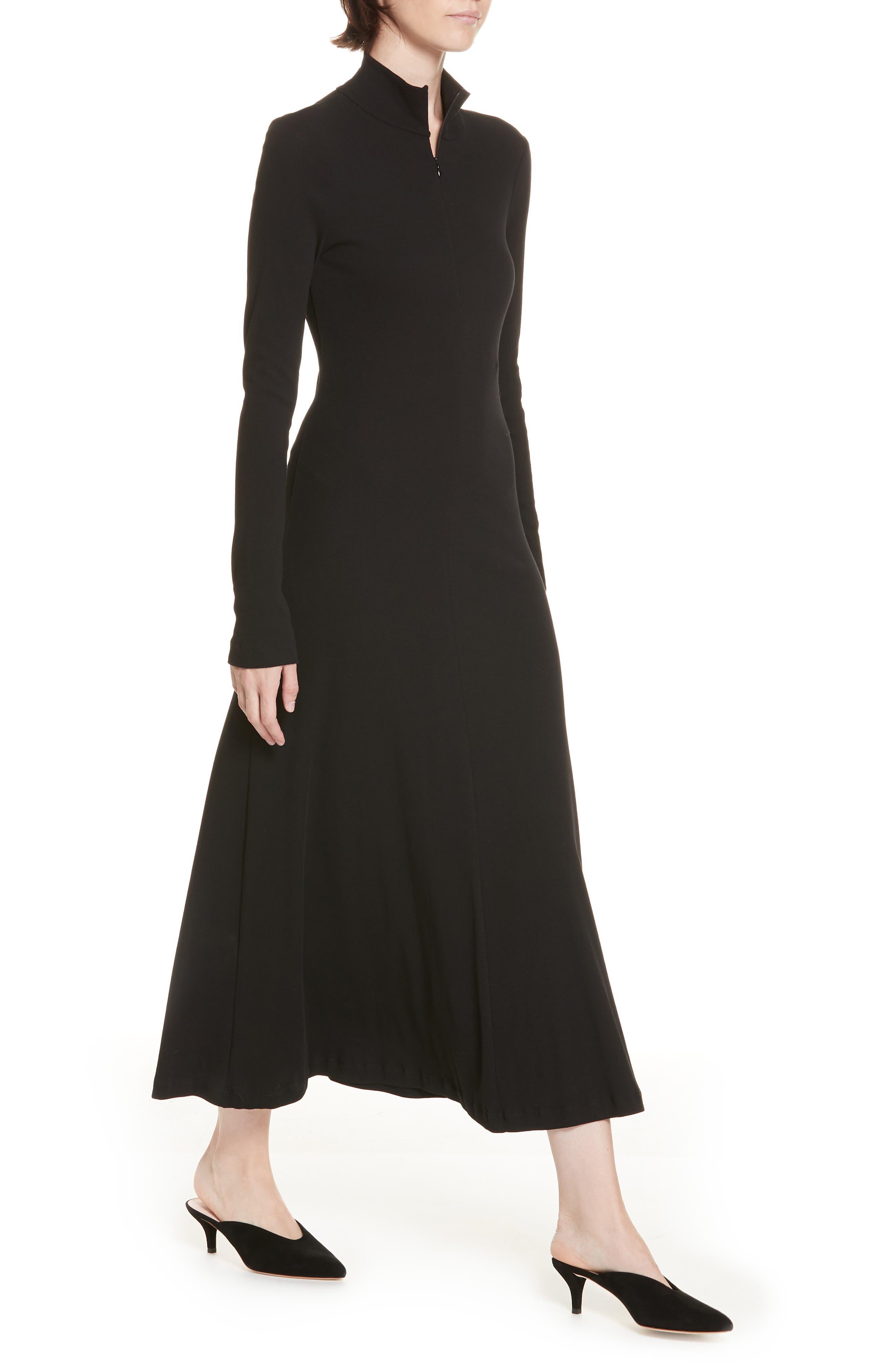 ROSETTA GETTY, Turtleneck Jersey Dress, Alternate thumbnail 4, color, BLACK