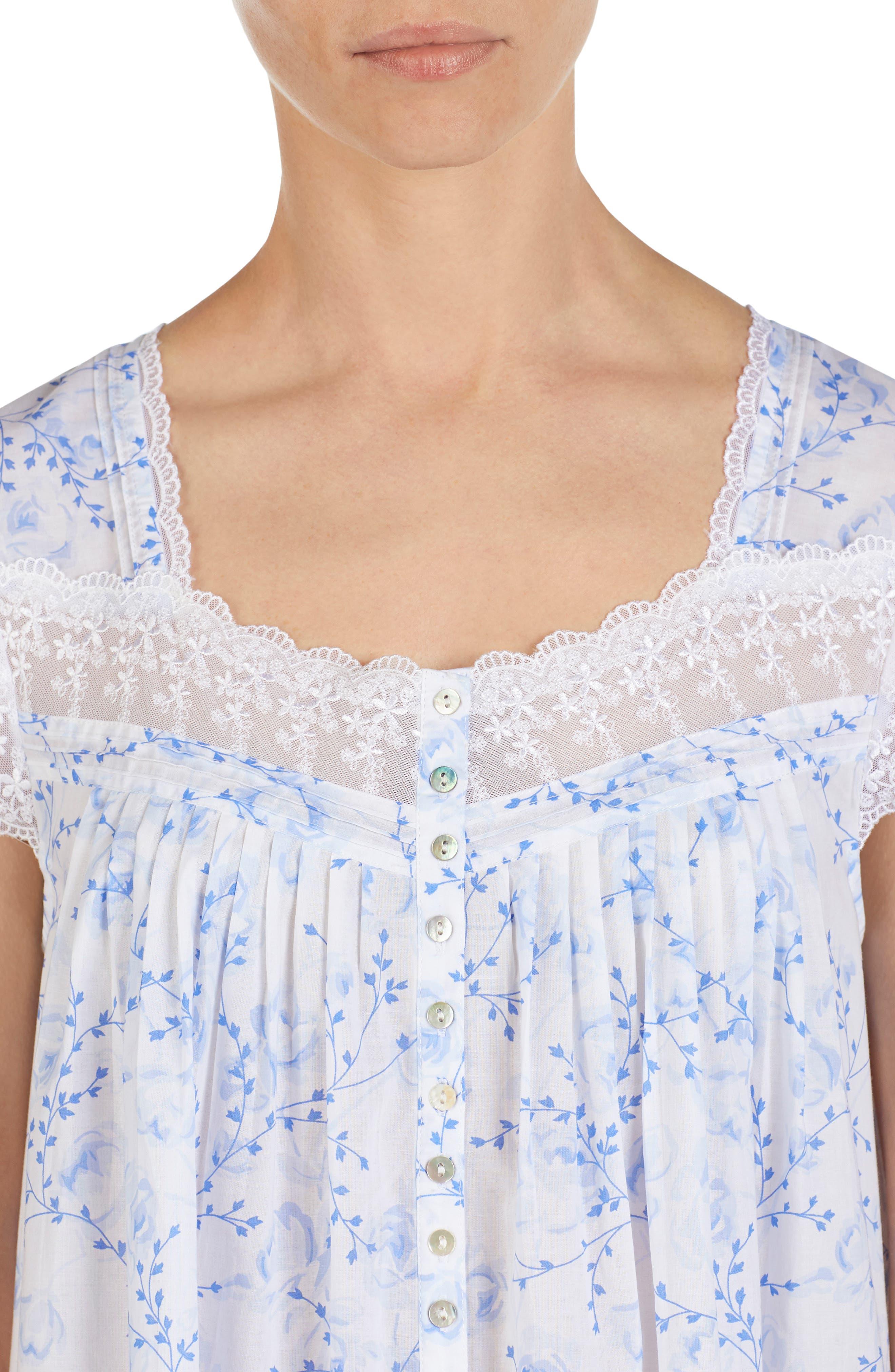 EILEEN WEST, Cotton Lawn Nightgown, Alternate thumbnail 3, color, BLUE FLORAL