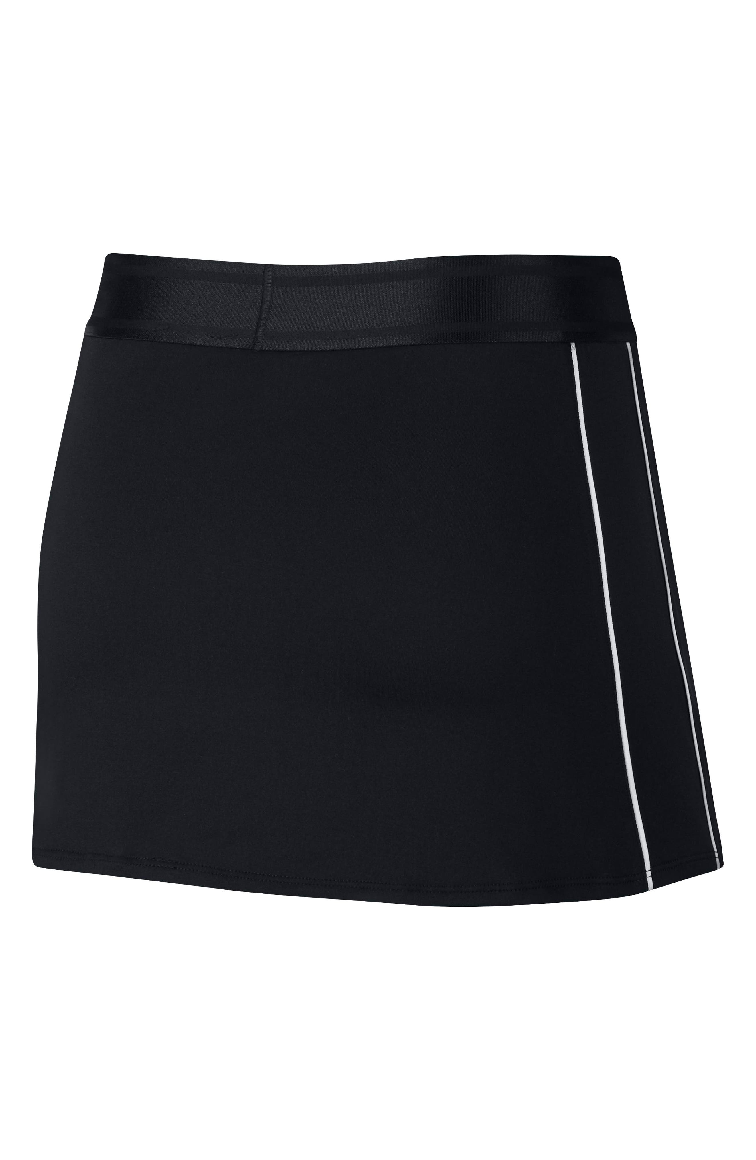 NIKE, Court Dry-FIT Tennis Skirt, Alternate thumbnail 8, color, BLACK/ WHITE/ WHITE/ BLACK