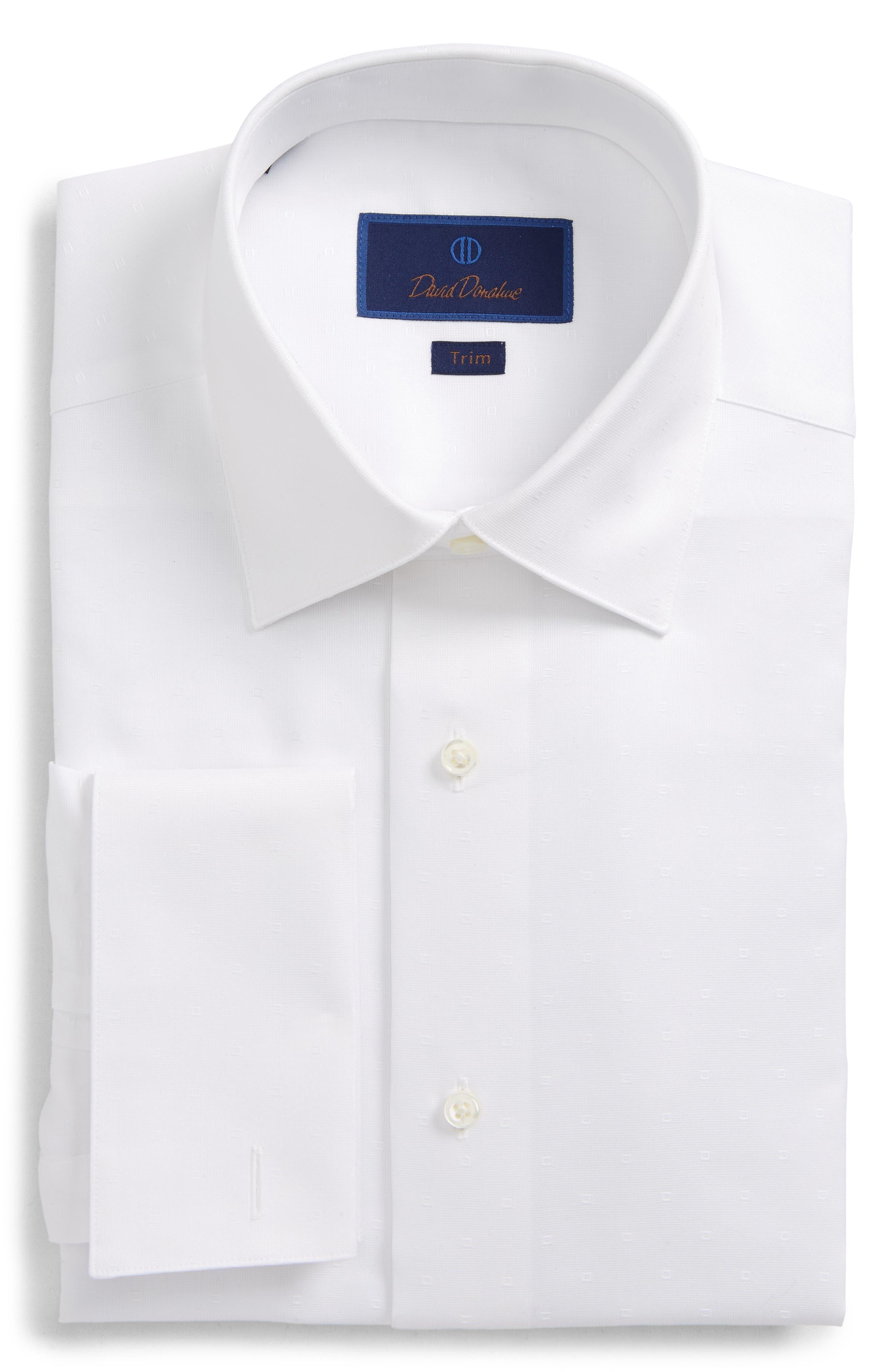 DAVID DONAHUE, Trim Fit Tuxedo Shirt, Main thumbnail 1, color, WHITE