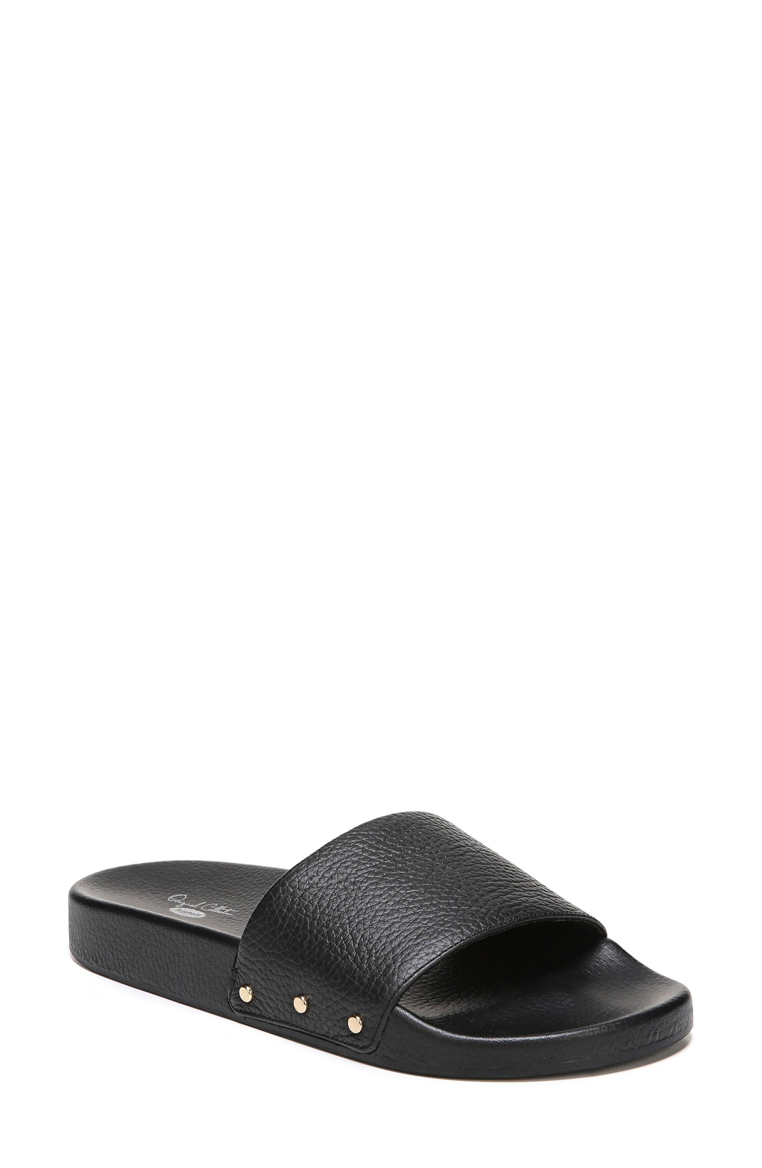 DR. SCHOLL'S, Pisces Slide Sandal, Main thumbnail 1, color, BLACK LEATHER