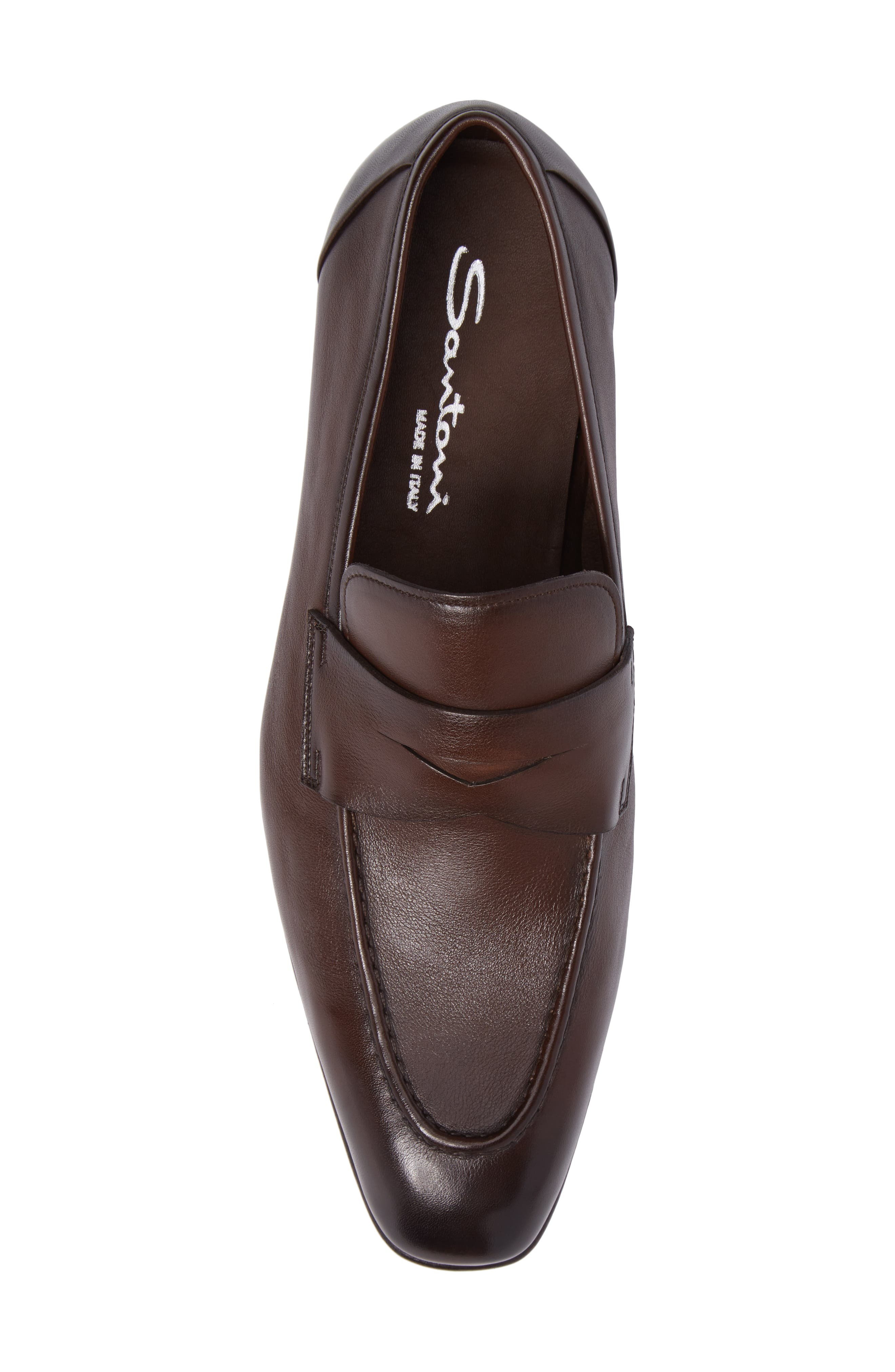 SANTONI, Gannon Penny Loafer, Alternate thumbnail 5, color, BROWN