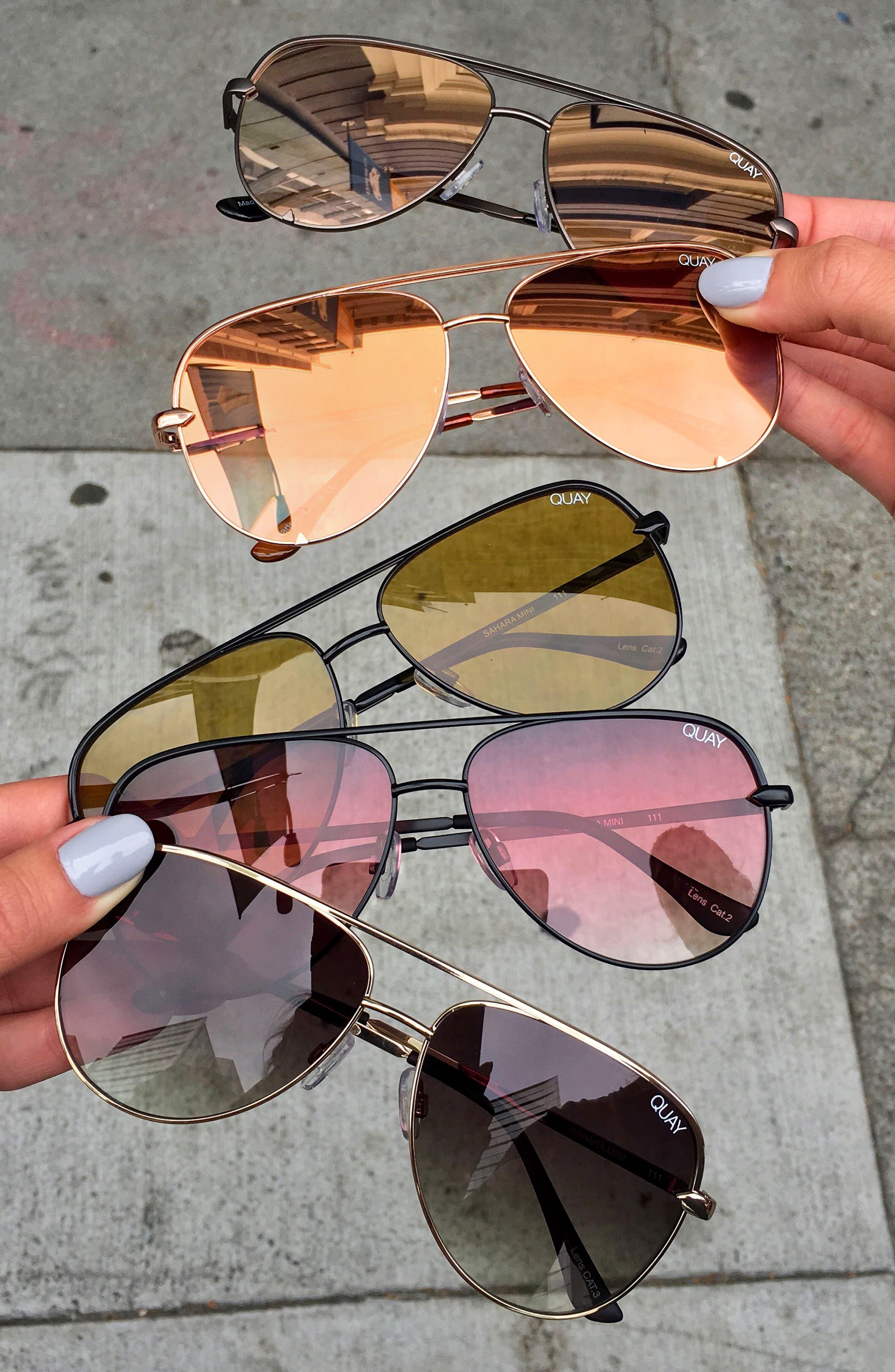 QUAY AUSTRALIA, x Desi Perkins Sahara Mini 52mm Aviator Sunglasses, Alternate thumbnail 4, color, BLACK/ PURPLE FADE
