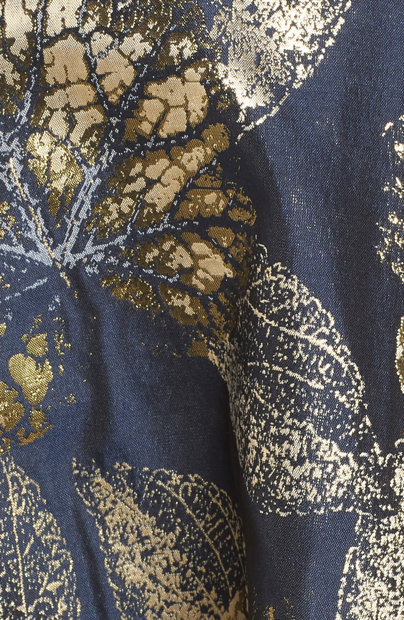 IEENA FOR MAC DUGGAL, Mac Duggal Long Sleeve Metallic Waist Print Gown, Alternate thumbnail 5, color, NAVY GOLD