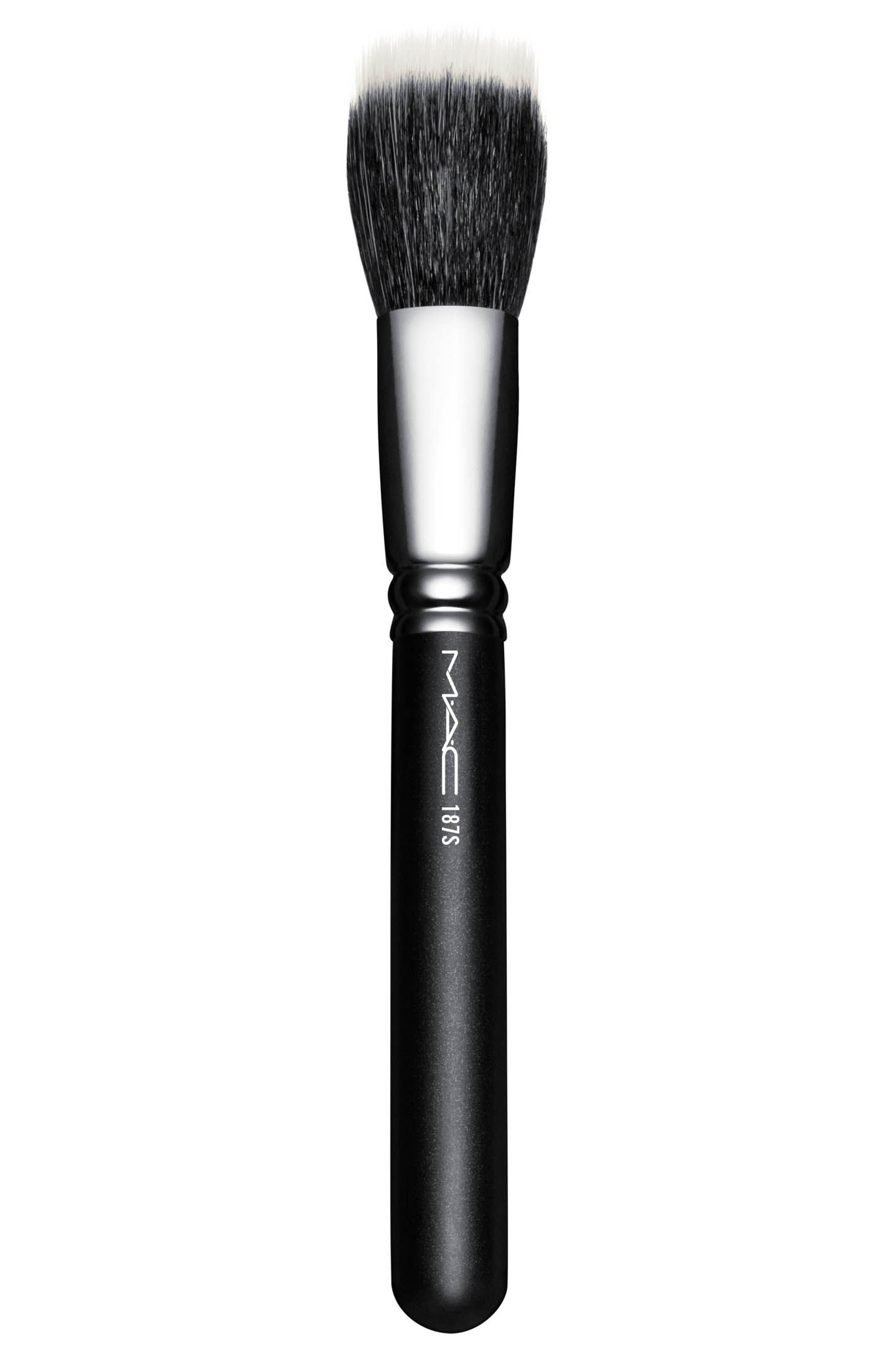 MAC COSMETICS, MAC 187S Synthetic Duo Fibre Face Brush, Main thumbnail 1, color, 000