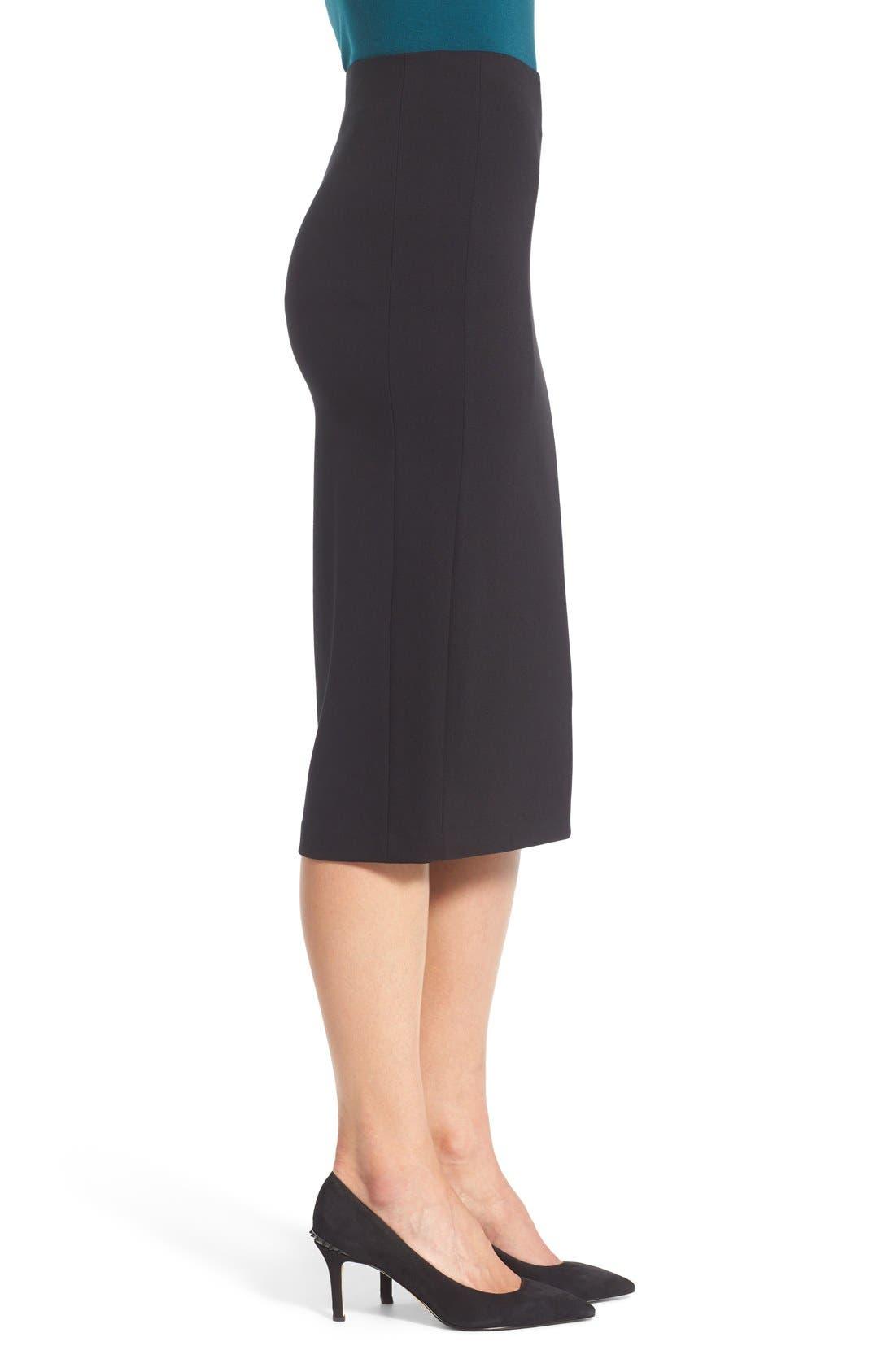 VINCE CAMUTO, Ponte Midi Skirt, Alternate thumbnail 3, color, RICH BLACK